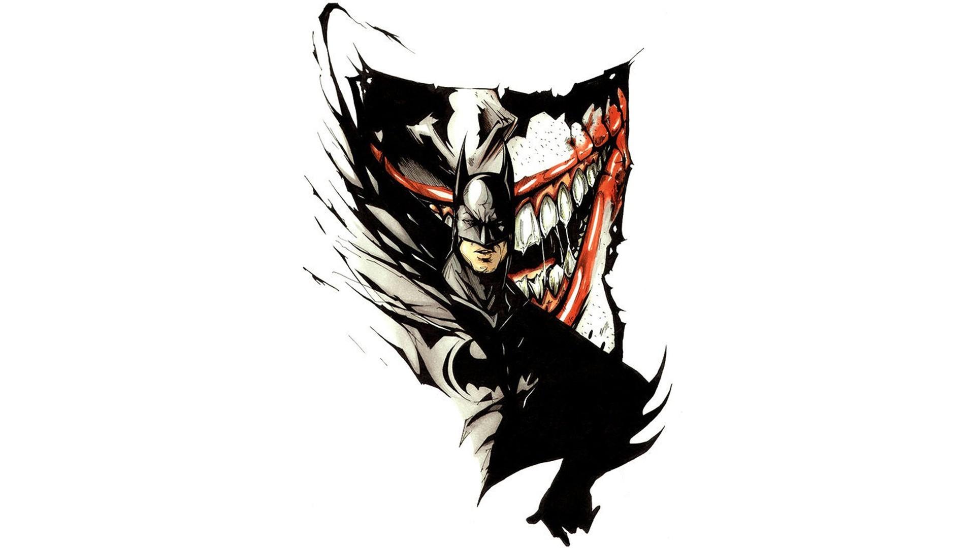 General 1920x1080 Batman Joker DC Comics artwork simple background white background