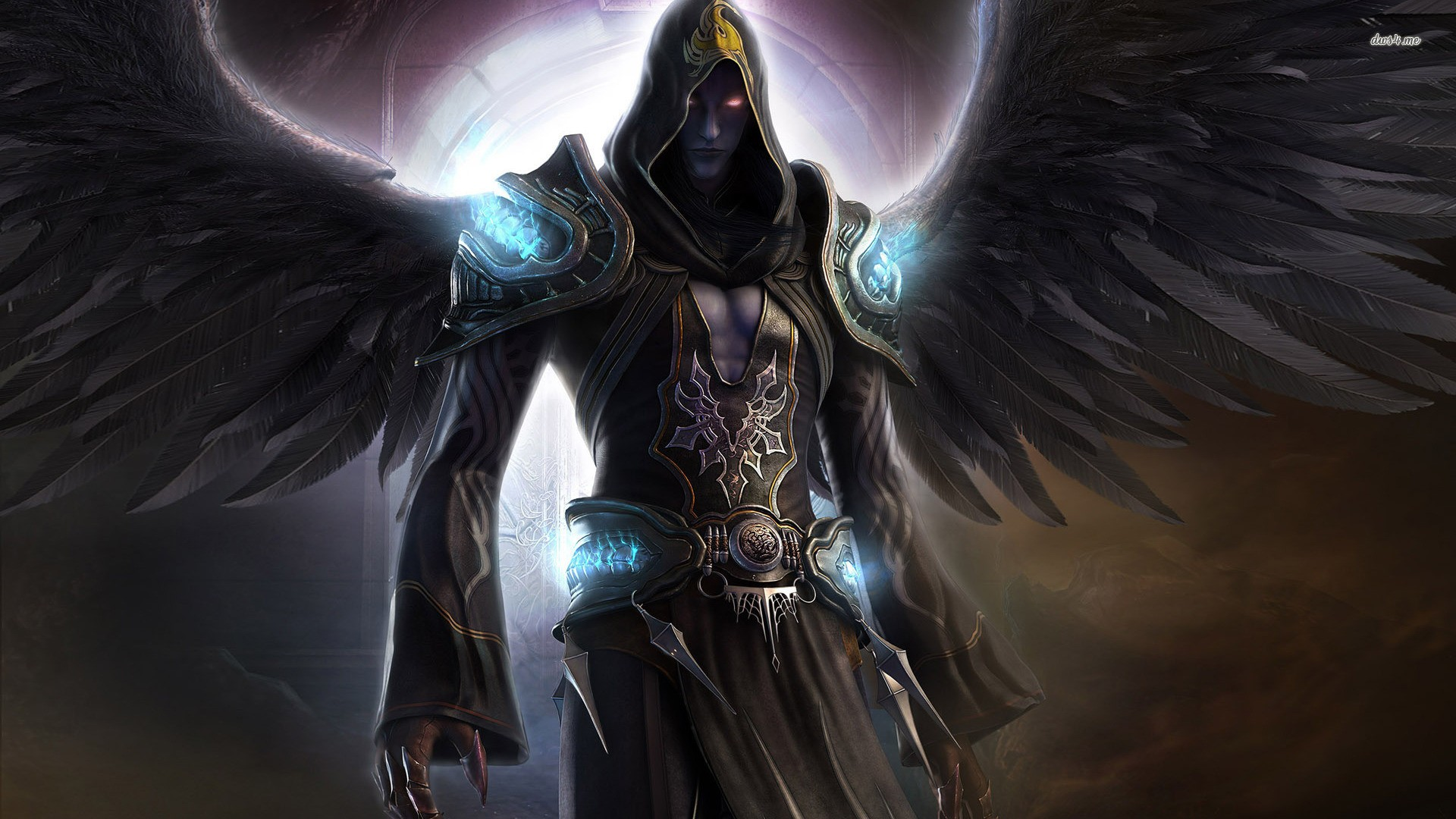 General 1920x1080 Dark Angel wings dark fantasy magician force angel red eyes Night Shadow Last Chaos