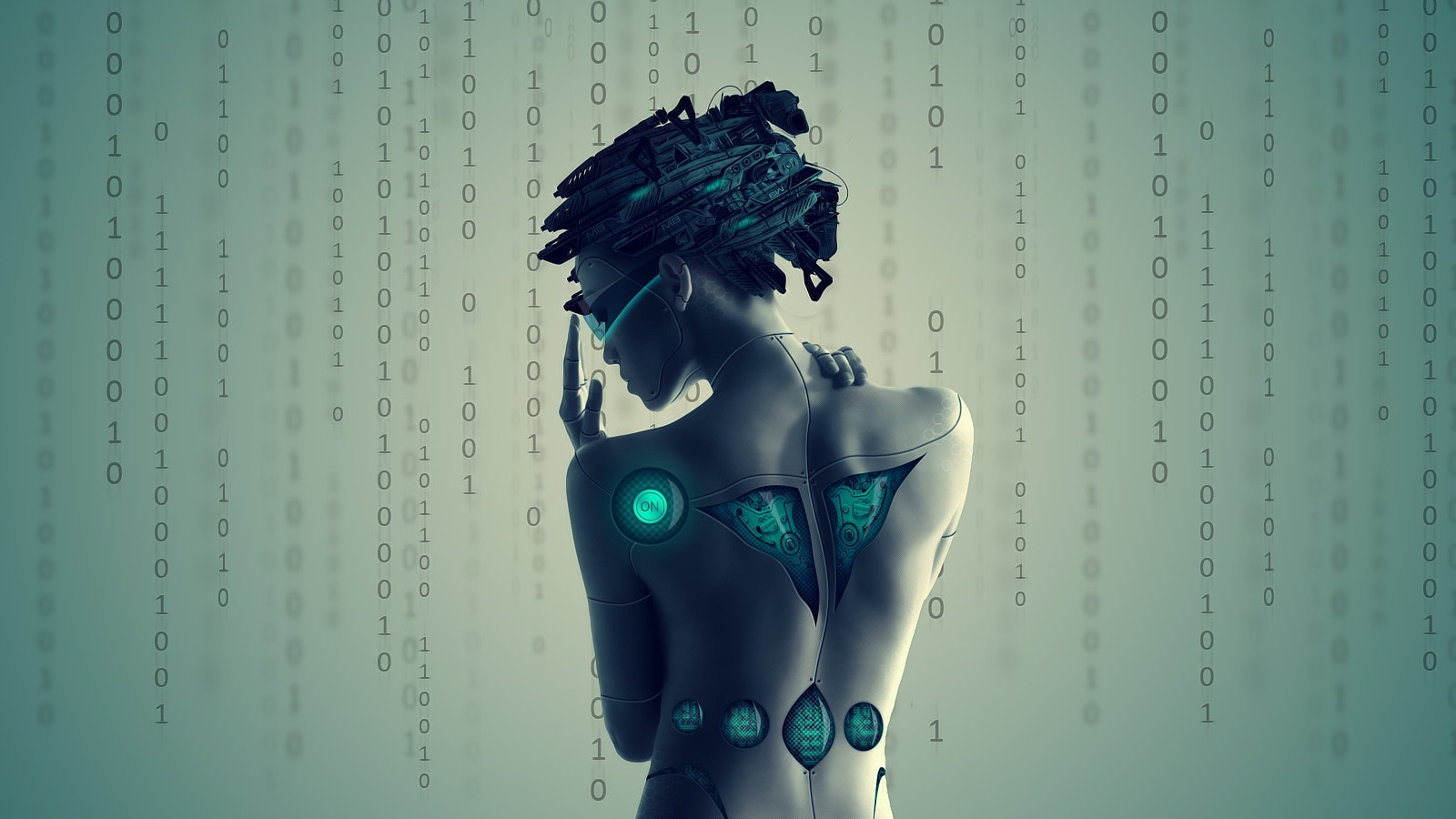 General 1600x900 cyberpunk cyborg artwork digital art women binary futuristic machine science fiction numbers visors