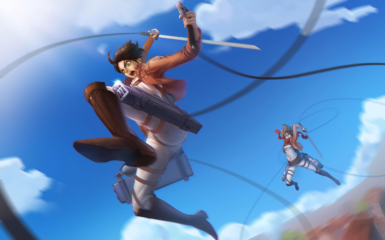 Anime 2880x1800 Shingeki no Kyojin Eren Jeager Mikasa Ackerman anime