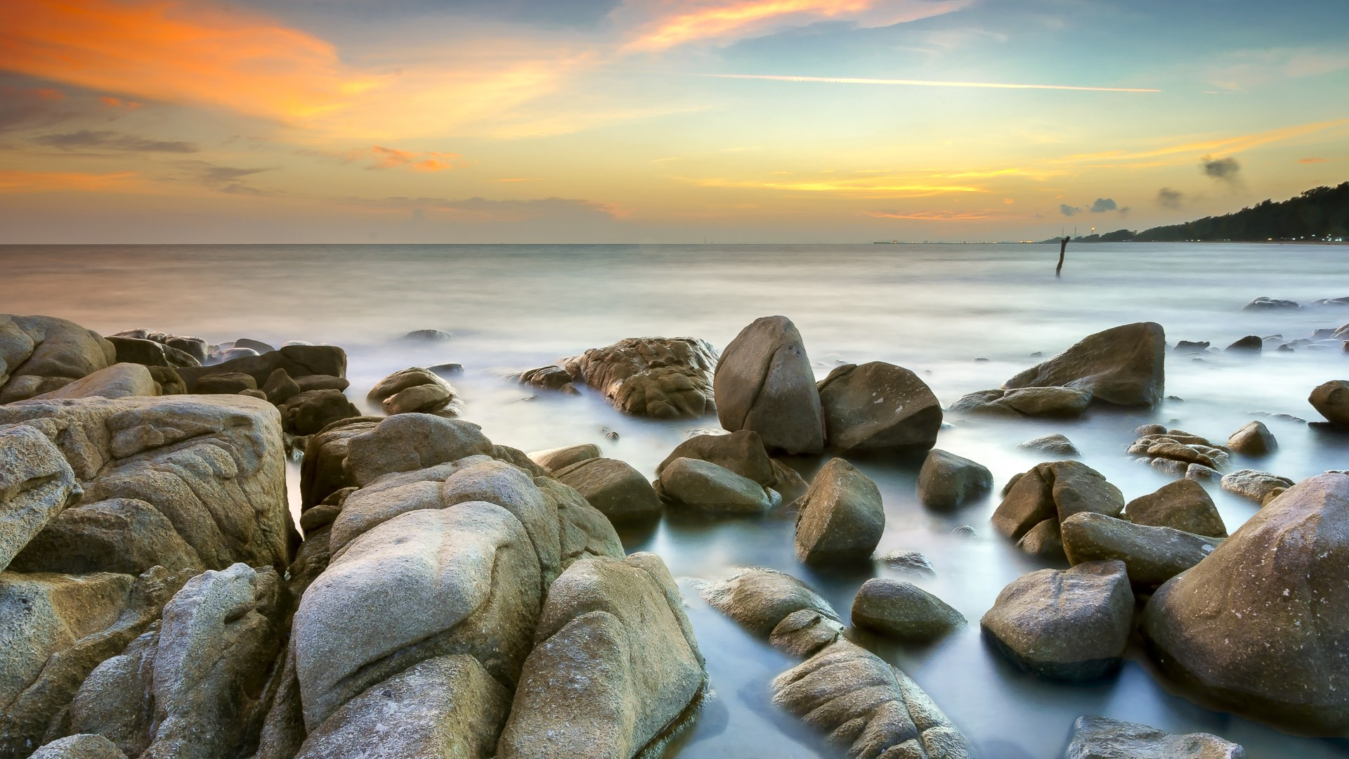 General 1920x1080 landscape sea rocks orange sky