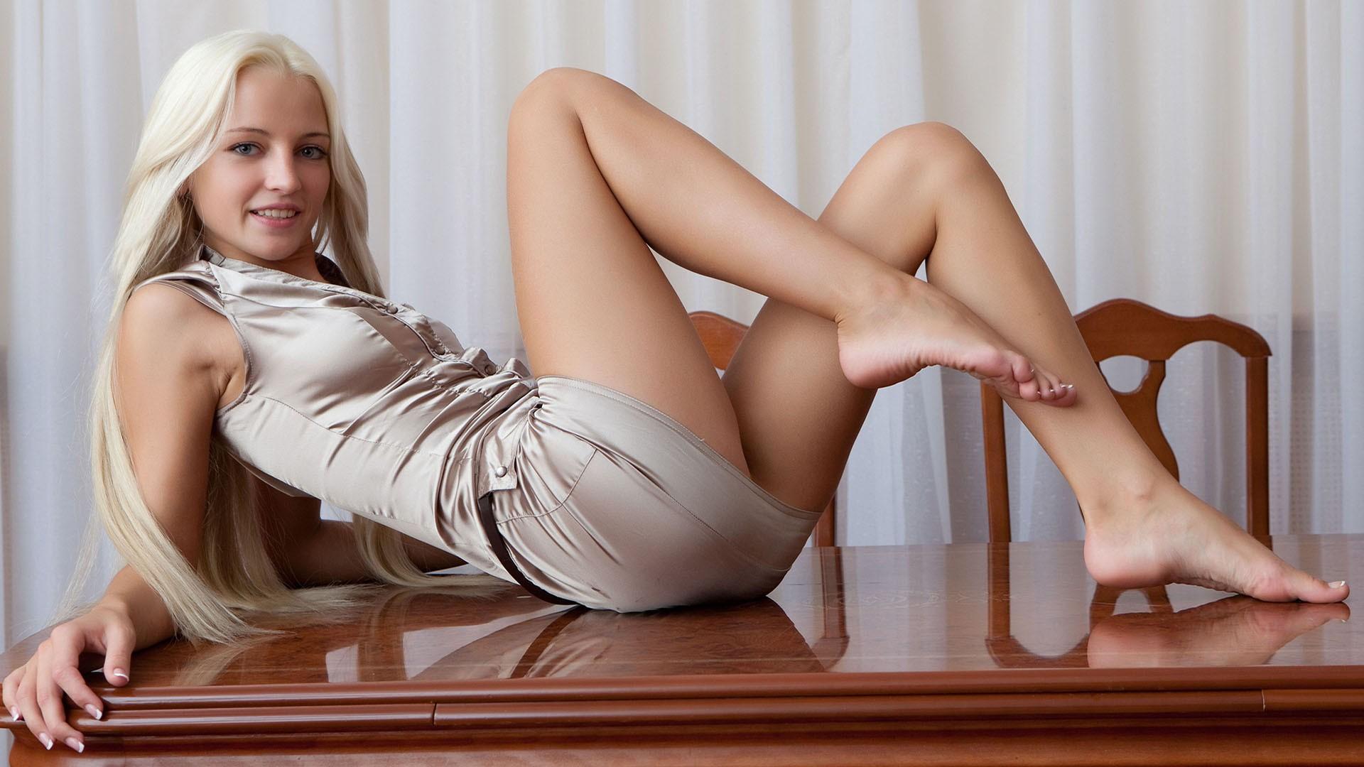People 1920x1080 feet Alysha A blonde toes legs women model satin barefoot