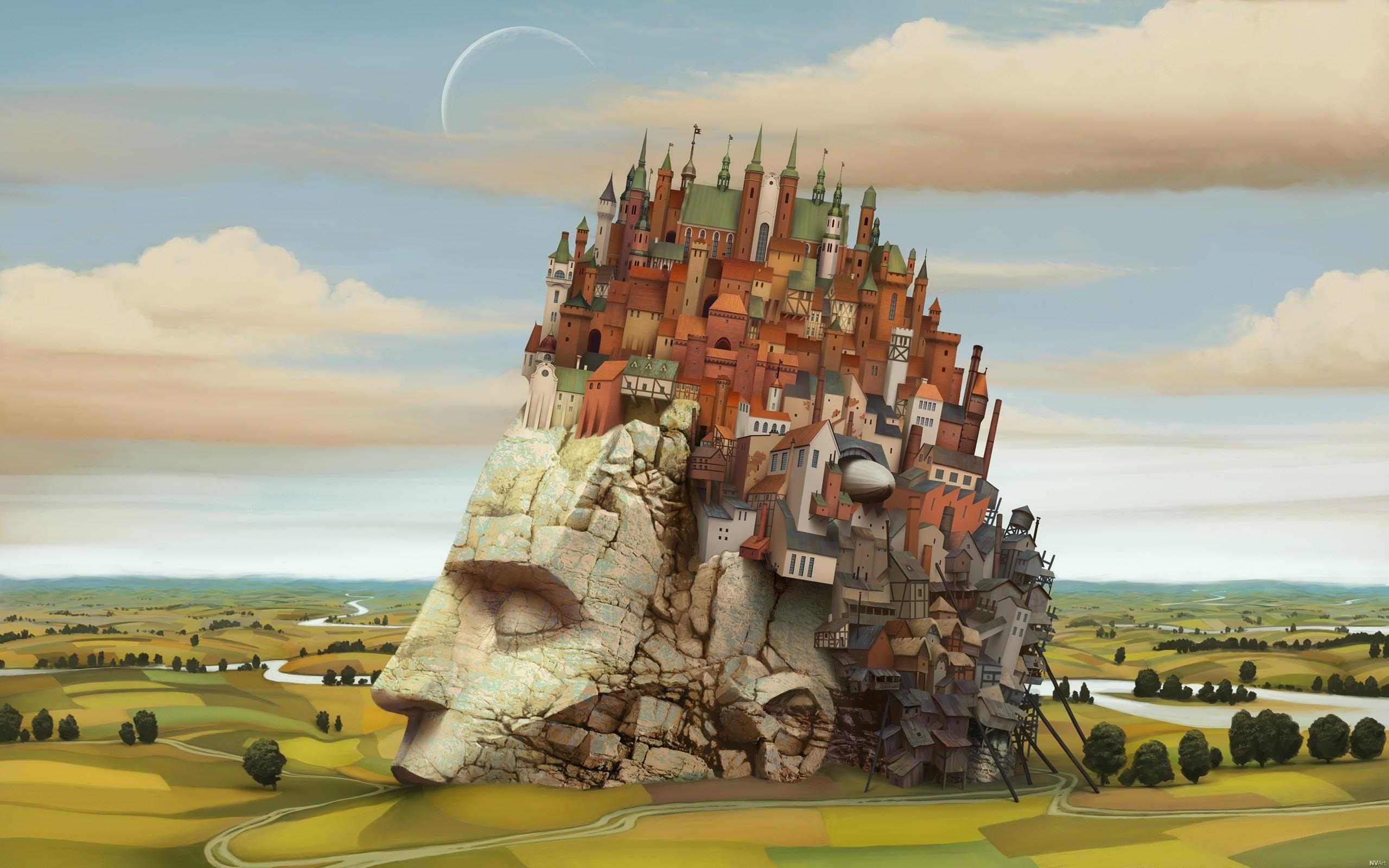 General 2560x1600 town fantasy city fantasy art artwork landscape