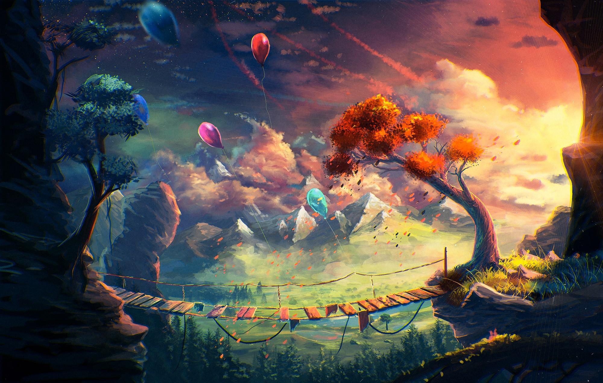 General 2000x1270 anime artwork fantasy art mountains bridge balloon Sylar clouds