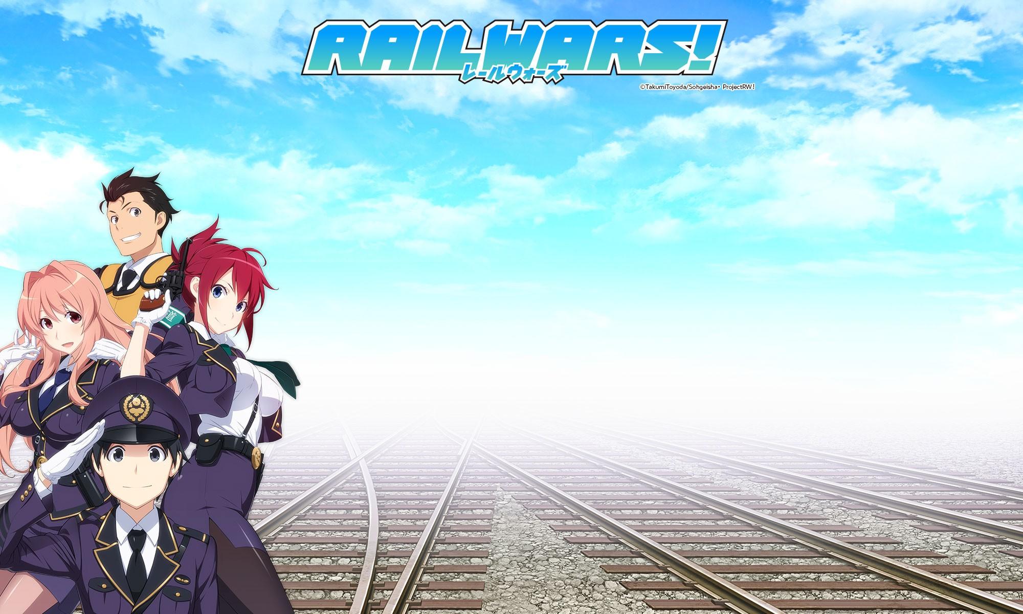 Anime 2000x1200 Rail Wars anime Koumi Haruka Sakurai Aoi Iwaizumi Shou anime boys anime girls cyan boobs pink hair railway redhead looking at viewer two women big boobs tie long hair