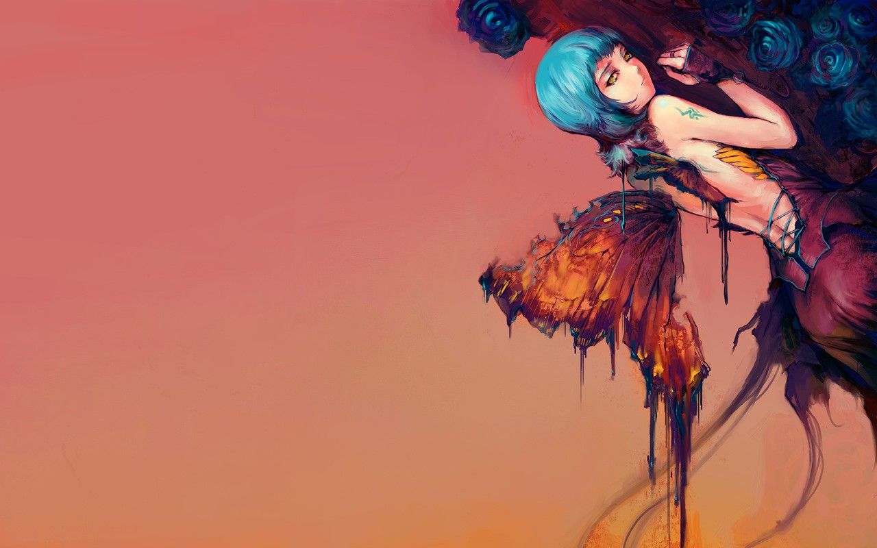 General 1280x800 fantasy art wings simple background blue hair