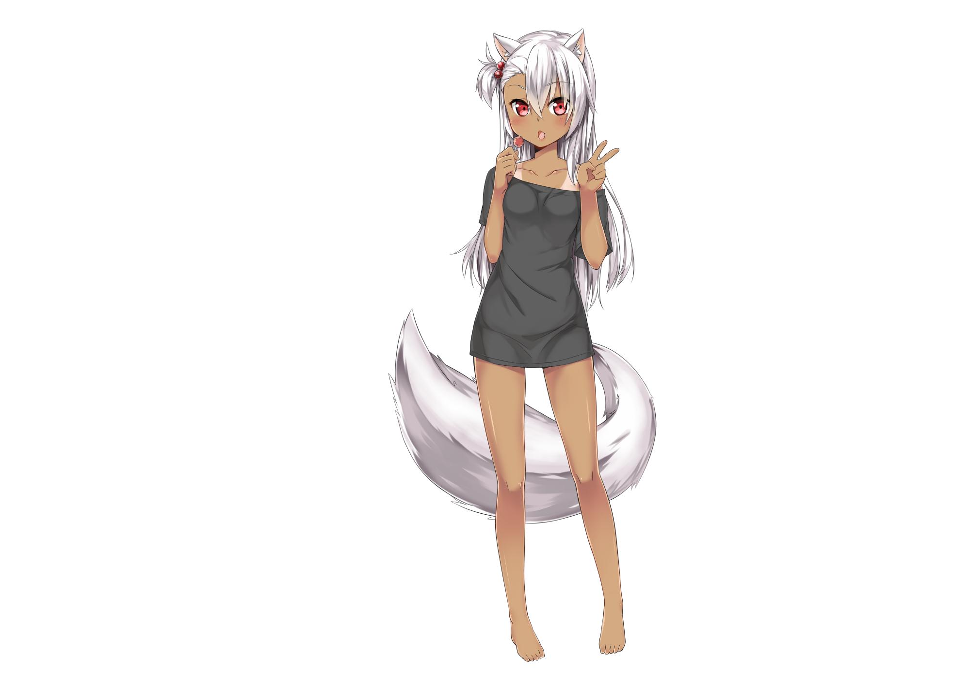Anime 2000x1412 anime girls animal ears tail long hair red eyes silver hair dark skin tan lines original characters