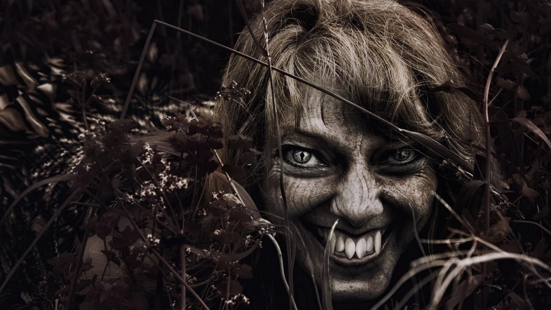 General 1920x1080 vampires wood demon horror teeth women sepia face photo manipulation dark creature eyes