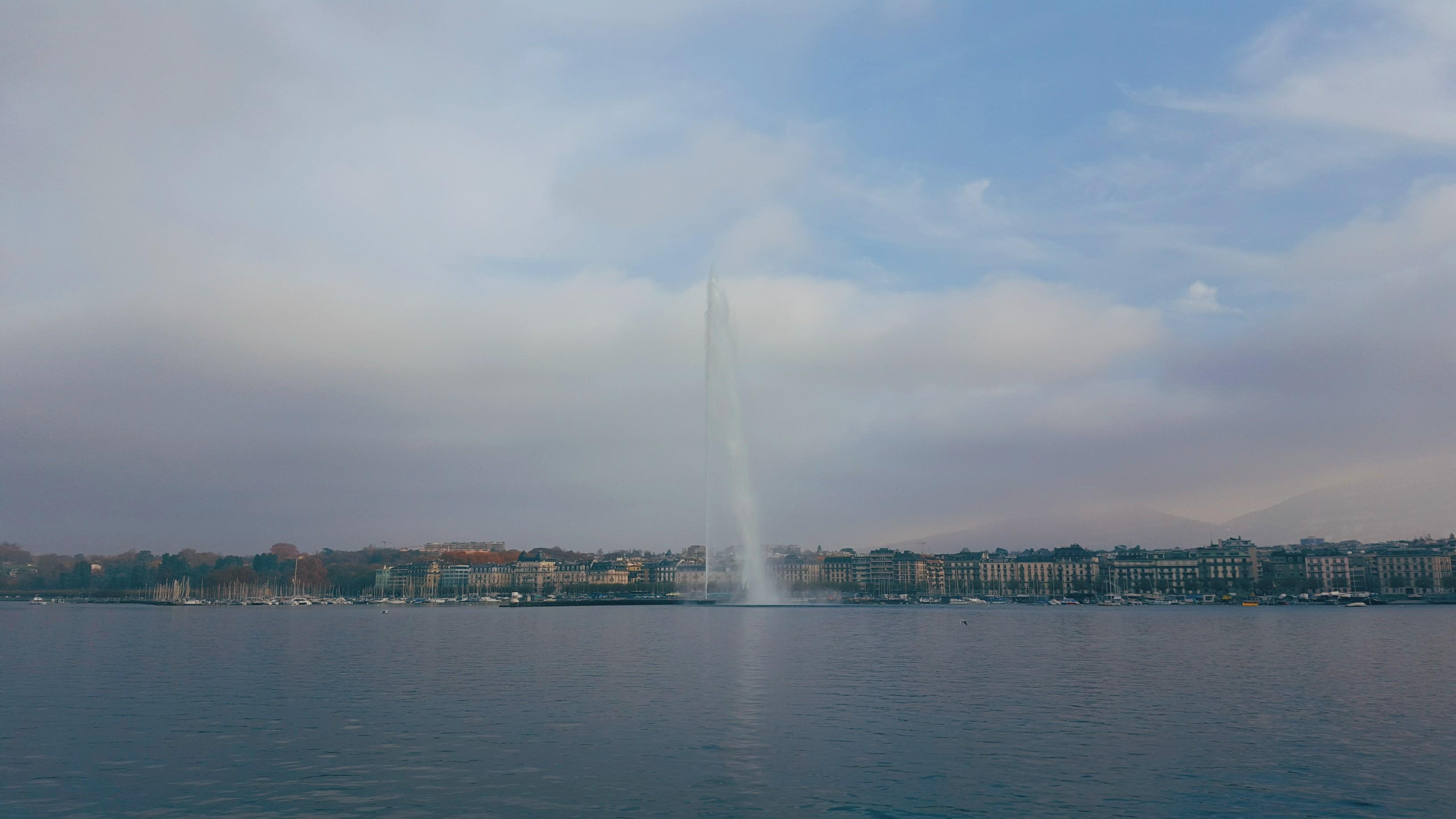 General 3264x1836 photography sky city cityscape landscape water Geneva architecture Switzerland mountains