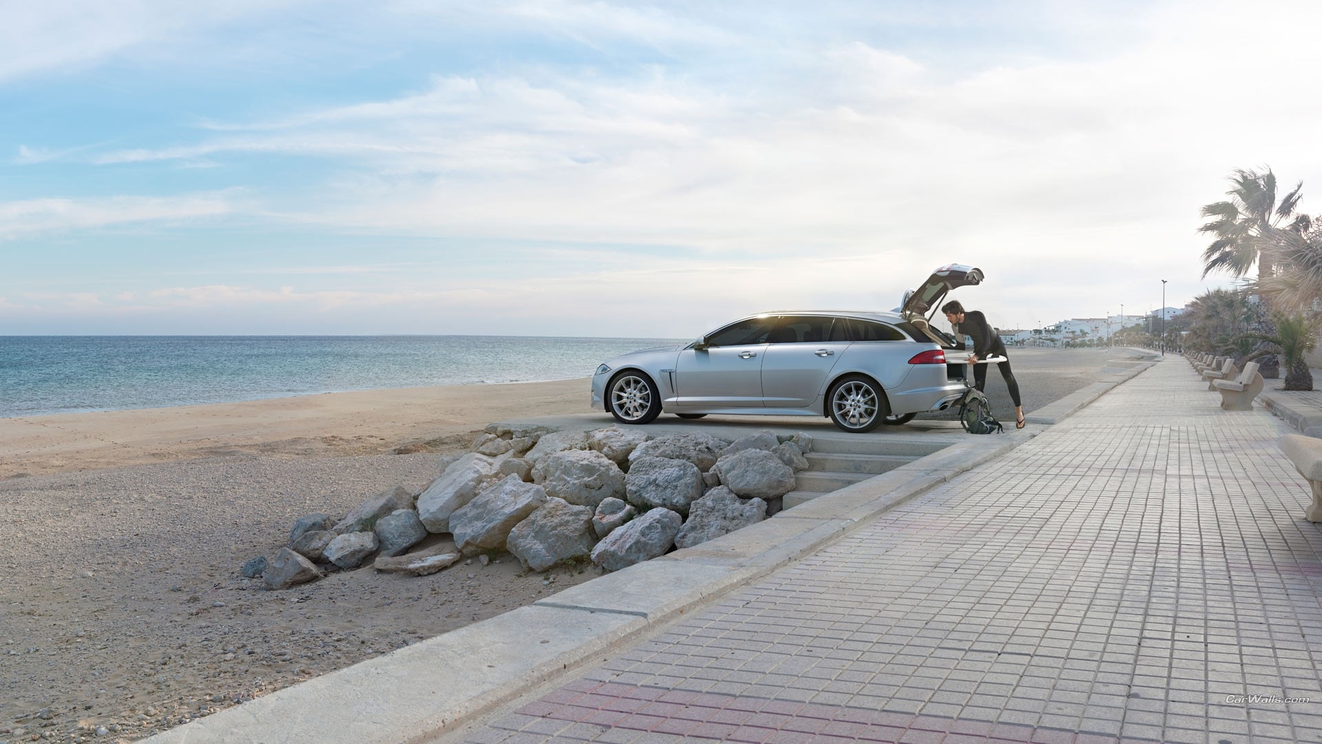 General 1920x1080 Jaguar XF beach sea car silver cars vehicle Jaguar Jaguar (car) men British cars