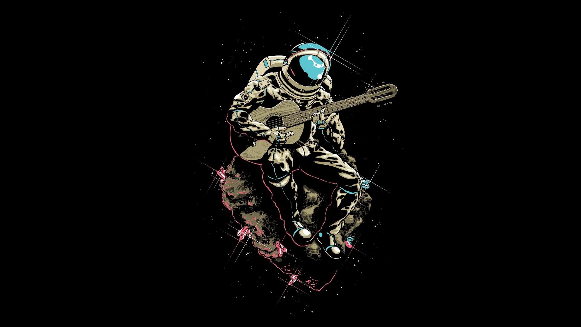 General 1920x1080 space astronaut guitar musician asteroid digital art spacesuit men helmet space suit playing music meteors sitting humor black background black Brazil cyan pink