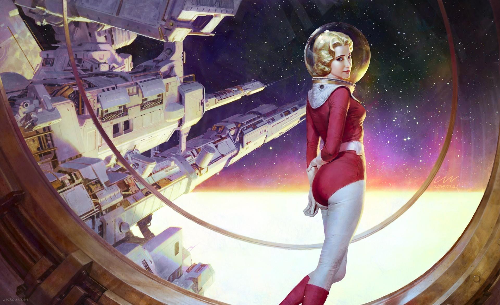 General 1920x1174 science fiction astronaut artwork retro science fiction space women