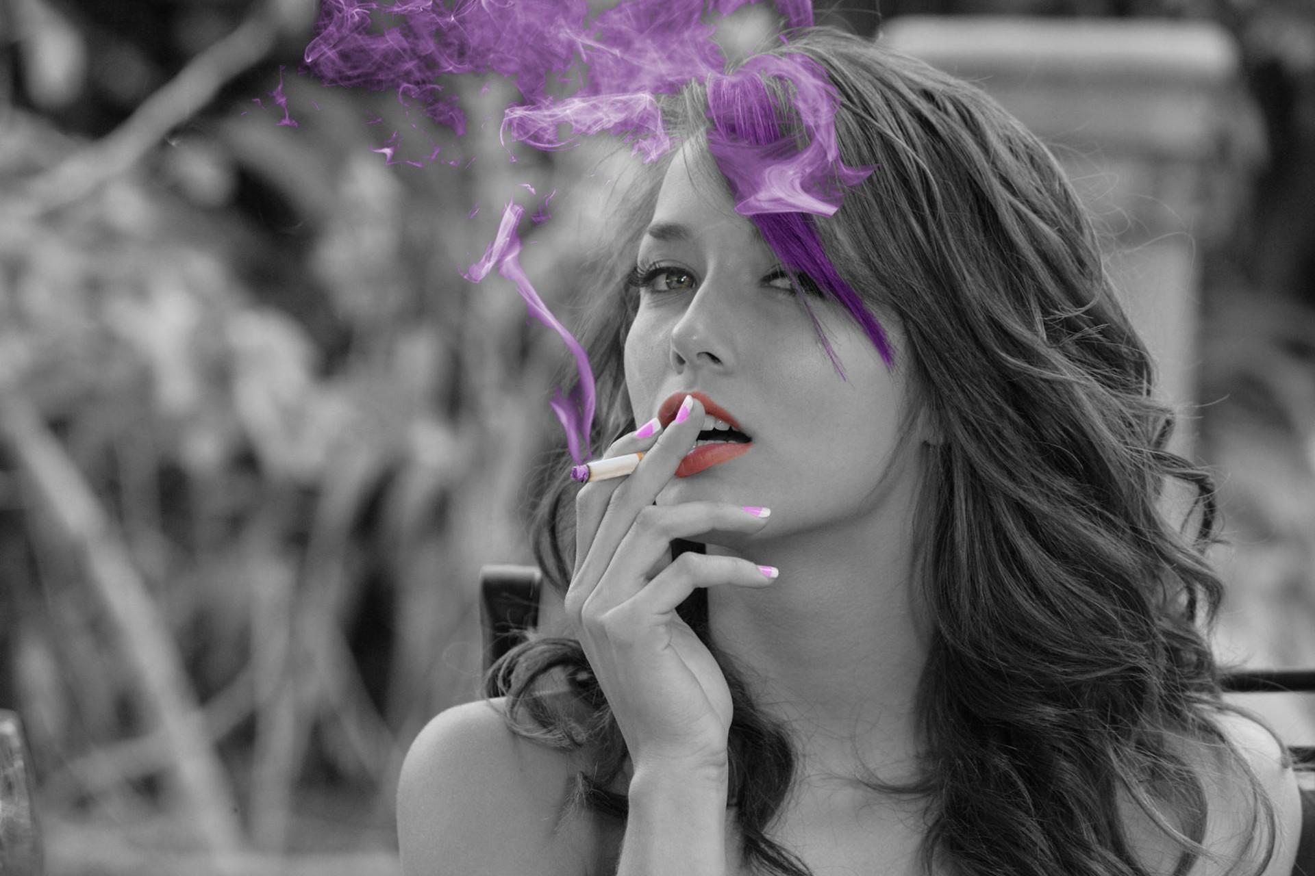 People 1920x1280 Malena Morgan smoking smoke face brunette lips selective coloring cigarettes colored smoke Caucasian women