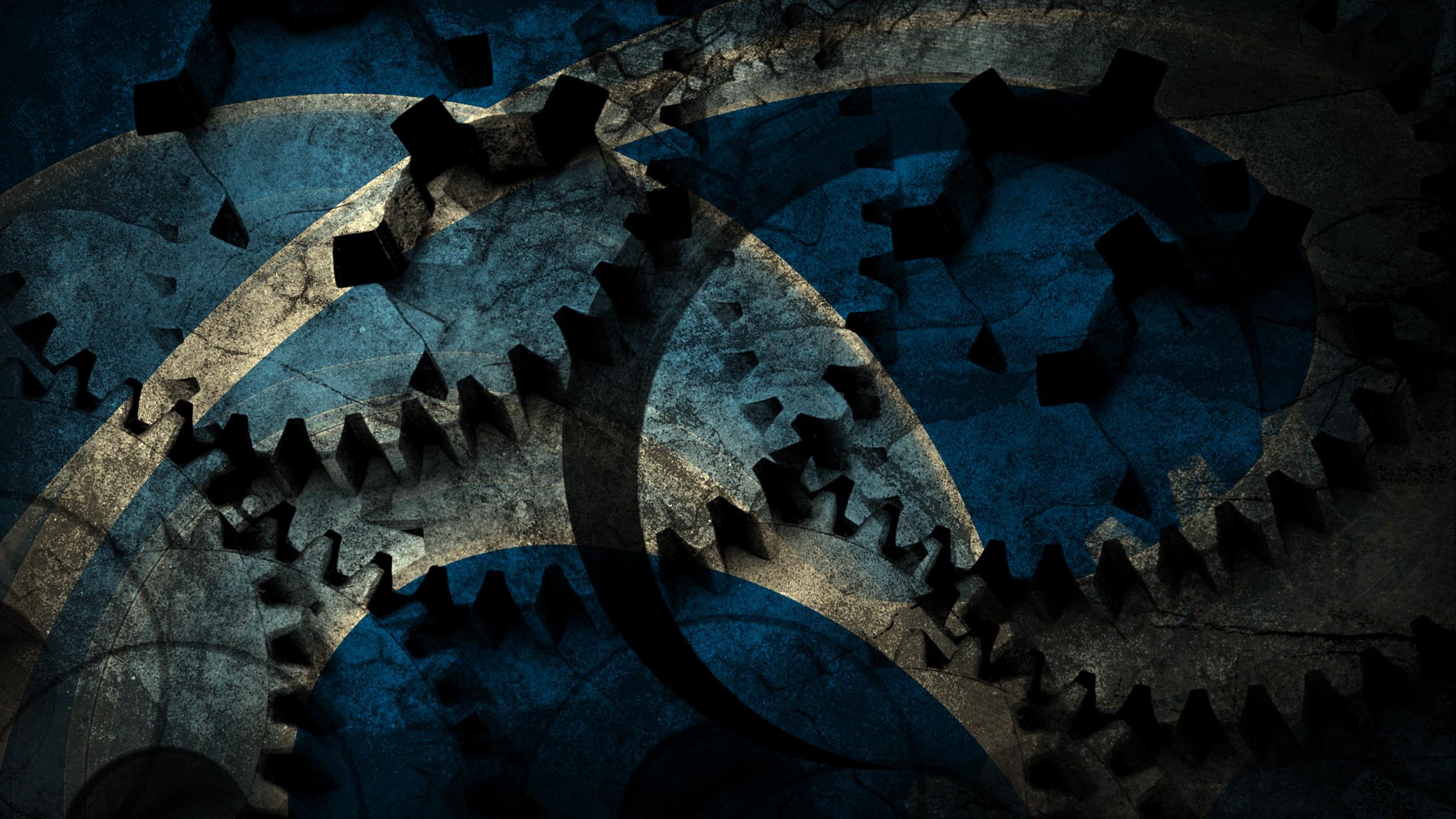 General 2560x1440 gears machine abstract grunge blue
