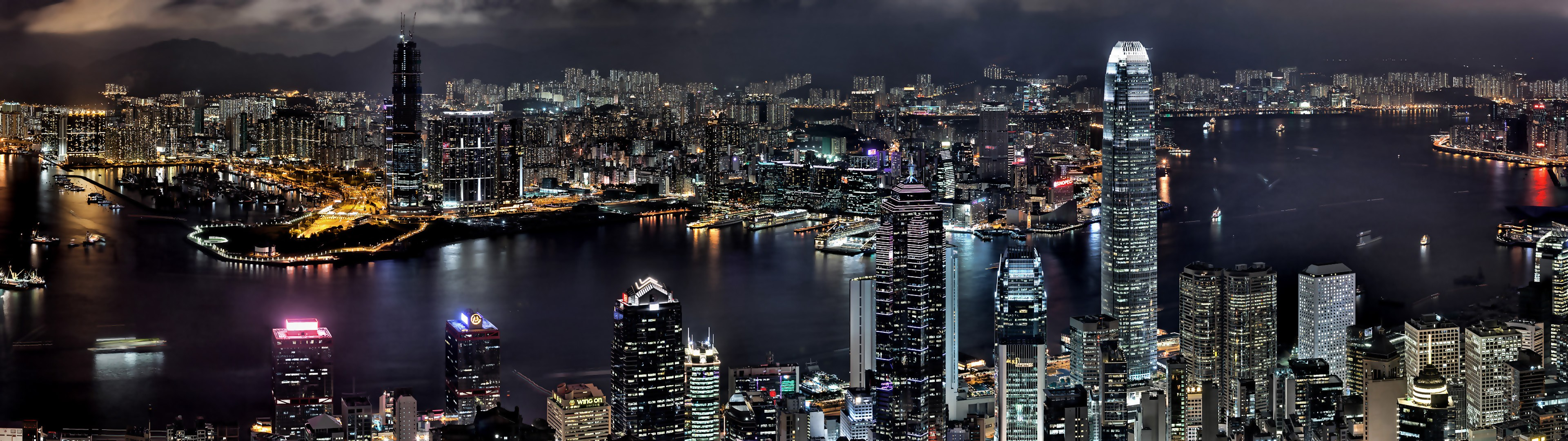 General 3840x1080 city cityscape Hong Kong night HDR China Asia city lights aerial view