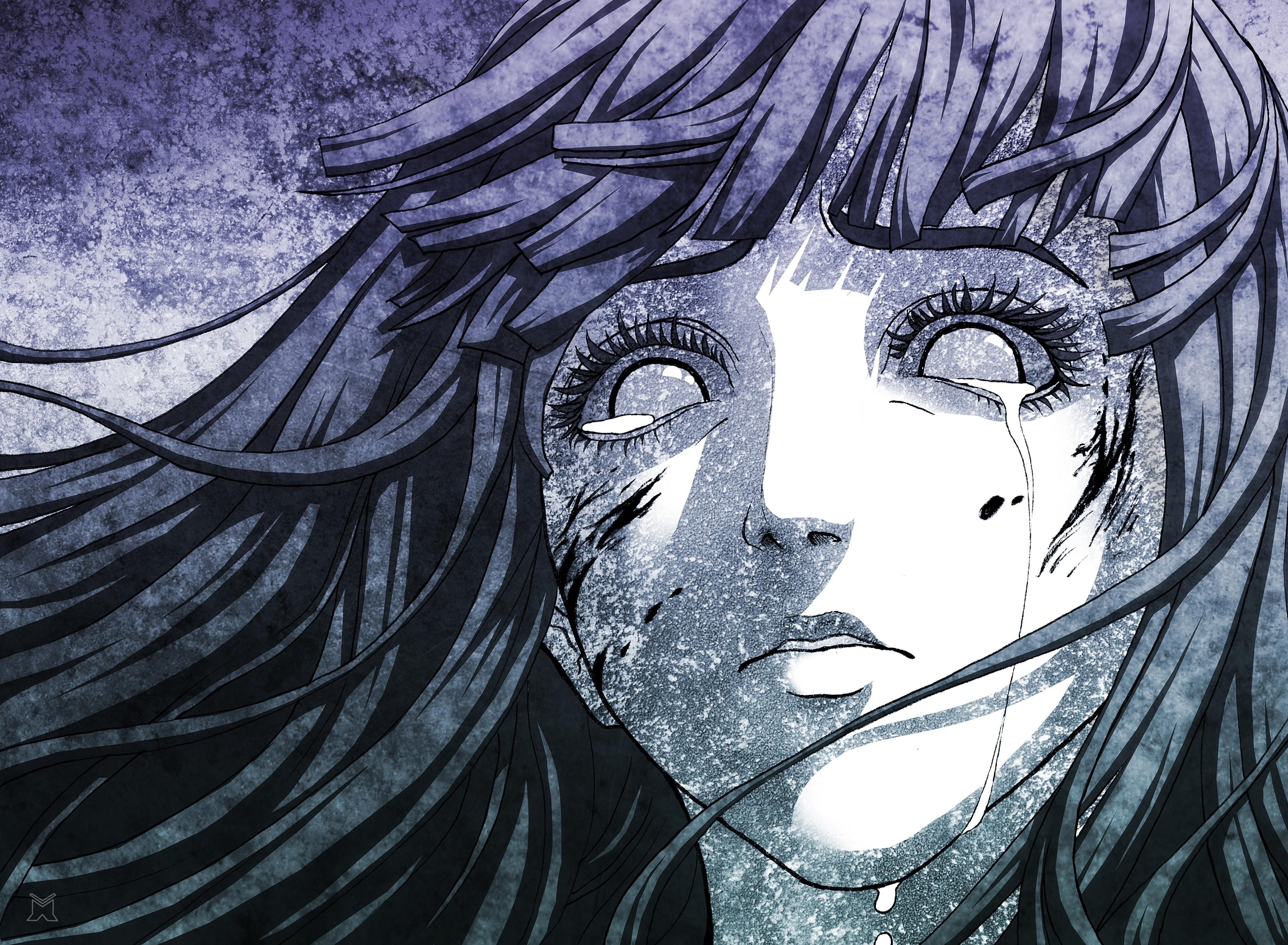 Anime 3315x2434 anime artwork anime girls Hyuuga Hinata Naruto Shippuuden crying monochrome face tears violet