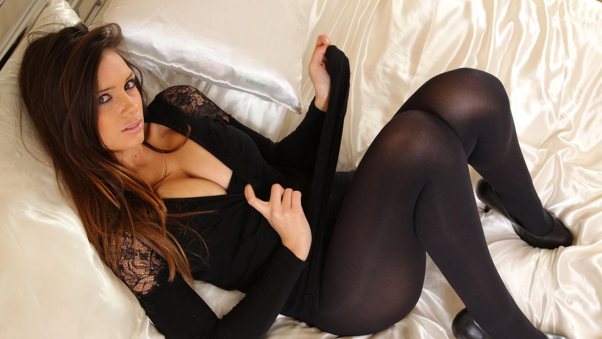 People 1920x1080 Louisa Marie women cleavage brunette stockings pantyhose tights women indoors boobs