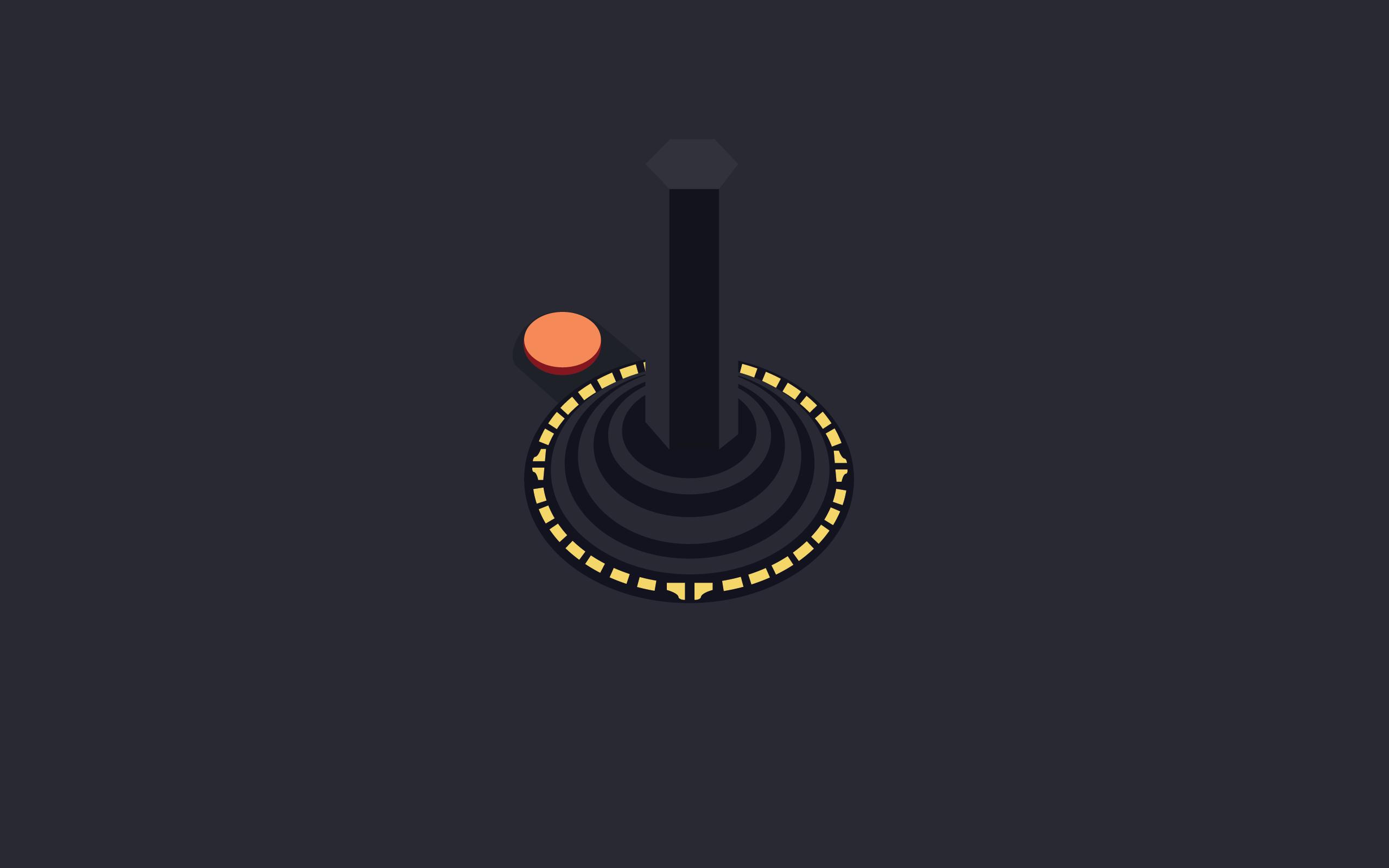 General 2560x1600 joystick Atari video games minimalism retro games buttons simple background