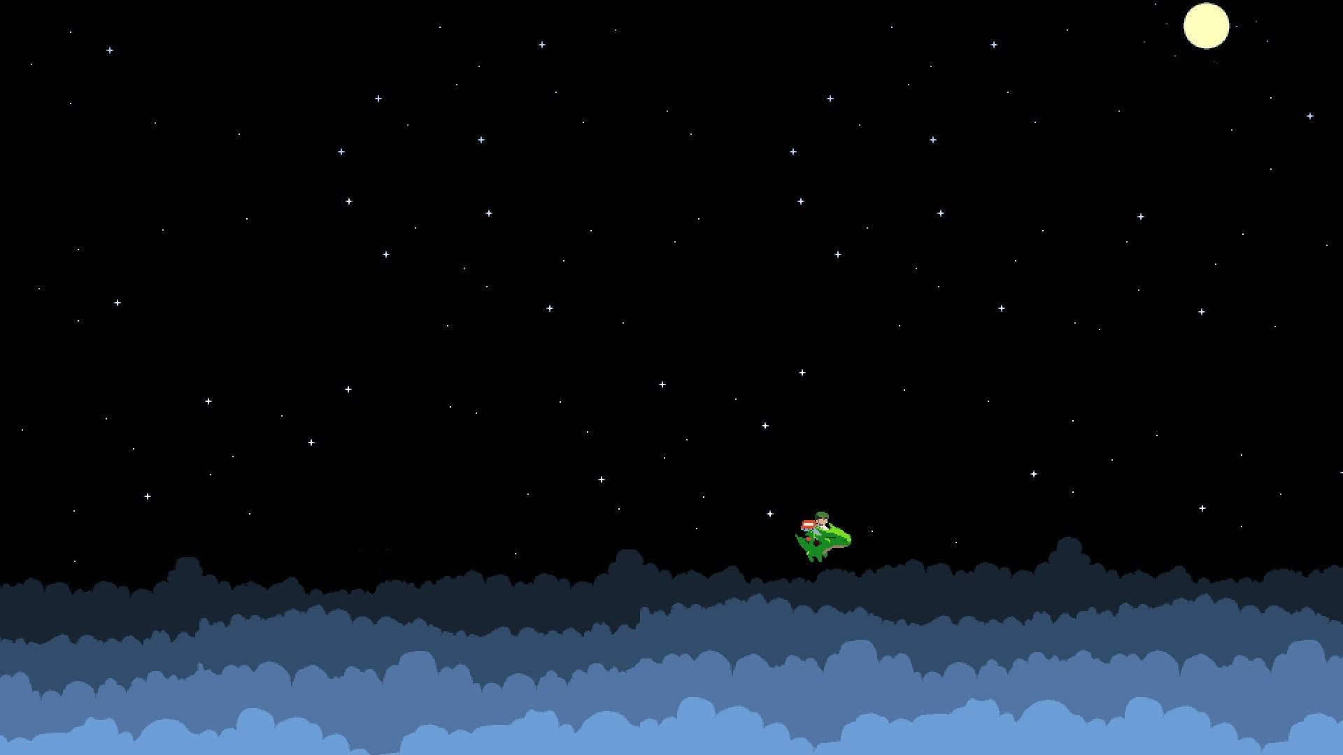 General 1920x1080 pixels pixel art 8-bit Moon stars video games space dragon clouds cave story video game art