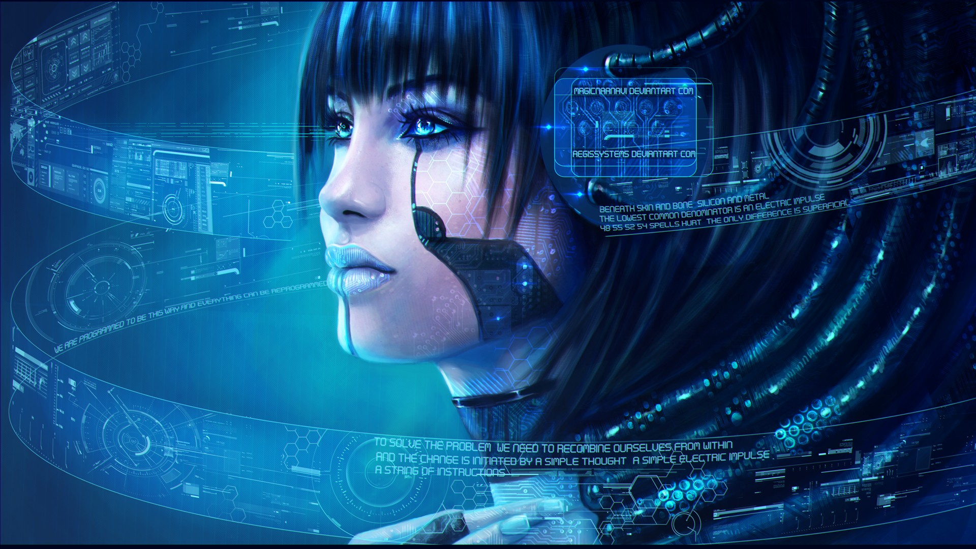 General 1920x1080 artwork video games cyborg futuristic women cyberpunk digital art blue Cortana Halo MagicnaAnavi technology blue eyes blue background wires blue lipstick space fantasy art robot HUD cyan science fiction video game art PC gaming DeviantArt