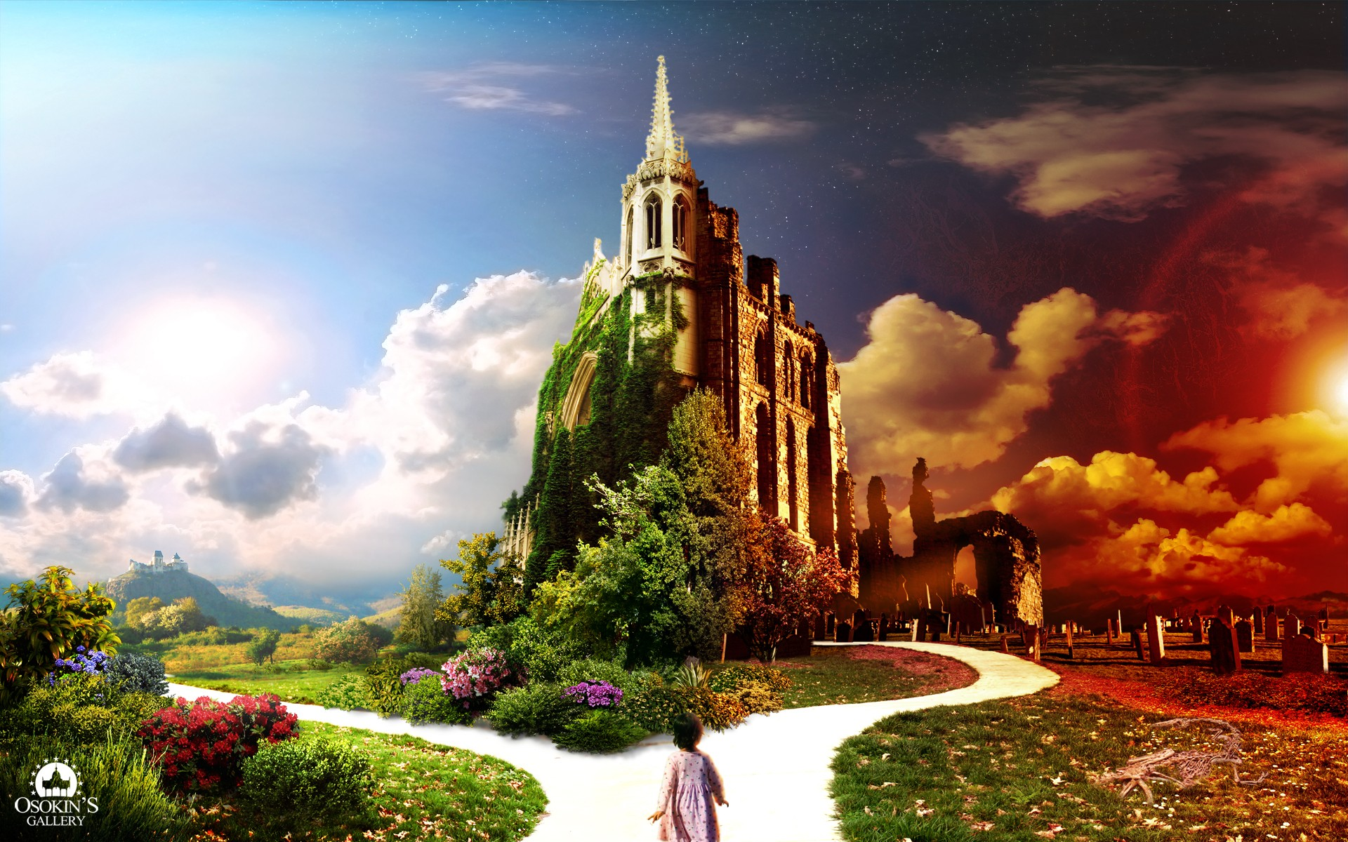 General 1920x1200 castle digital art sky plants flowers clouds