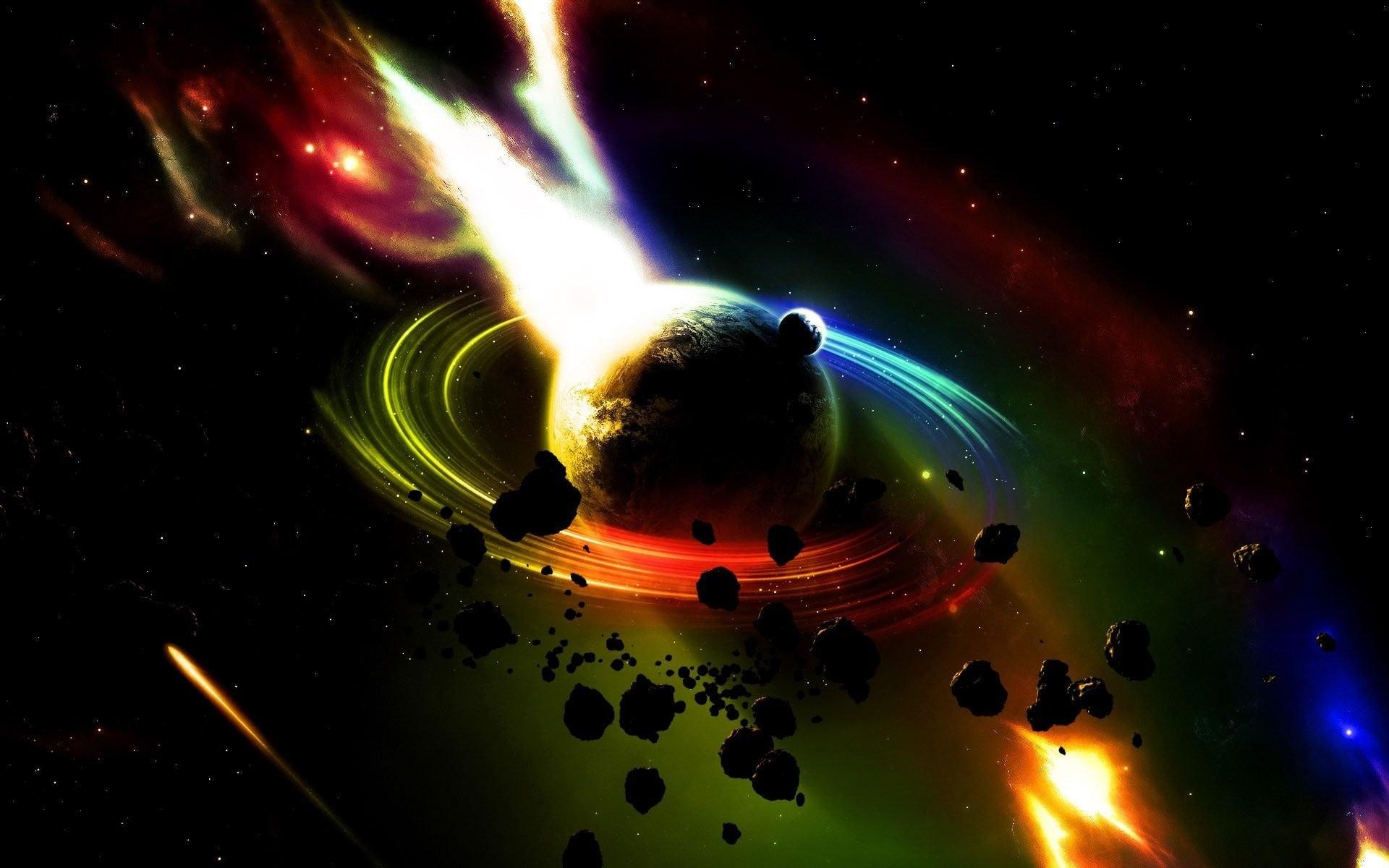 General 1920x1200 digital art CGI space universe planet stars comet meteors colorful explosion
