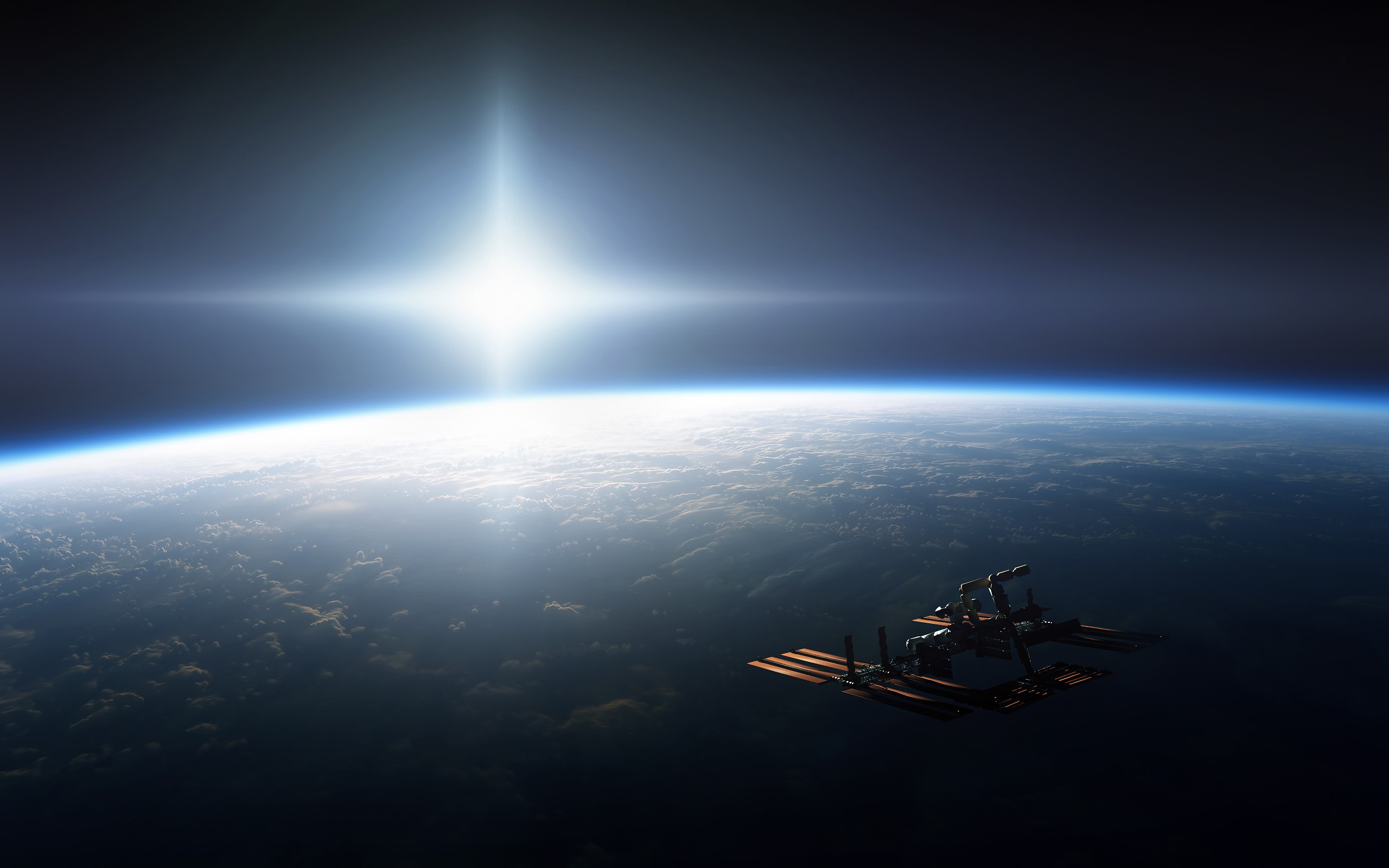 General 2560x1600 photography International Space Station ISS space Earth Sun horizon space station CGI digital art space art