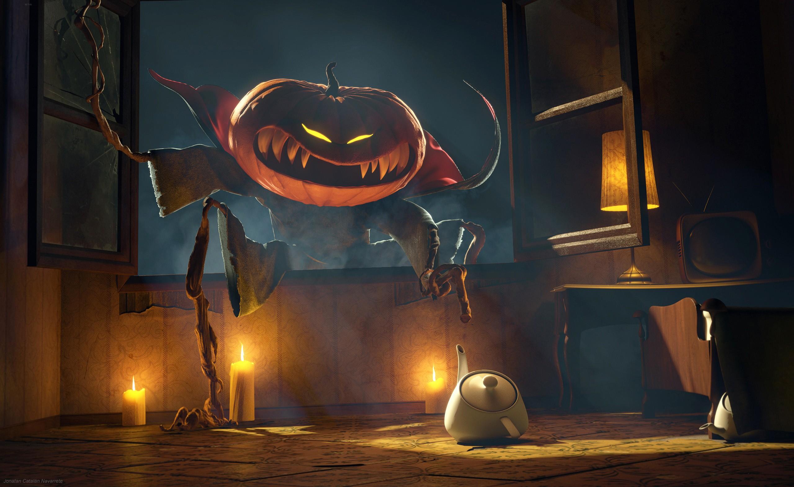 General 2560x1572 Halloween spooky pumpkin artwork glowing eyes