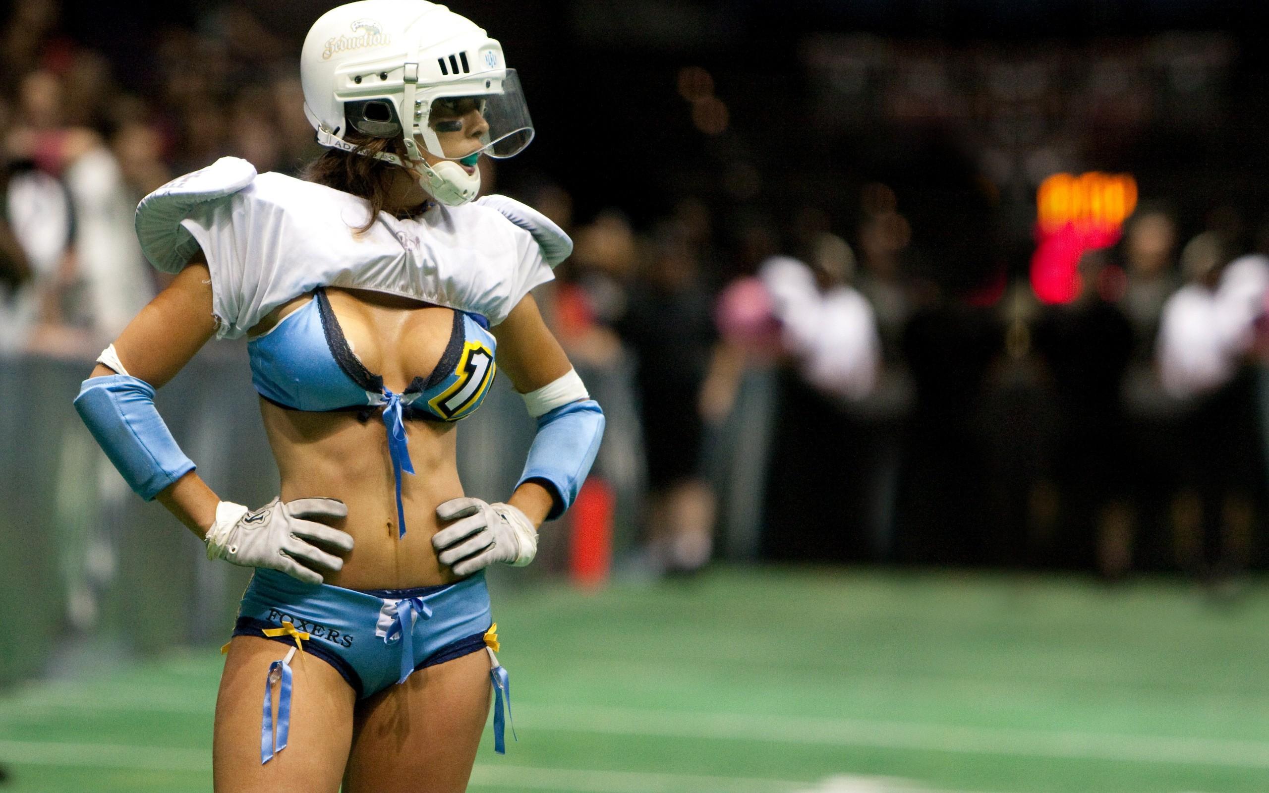 People 2560x1600 American football Lingerie Football League women cleavage lingerie