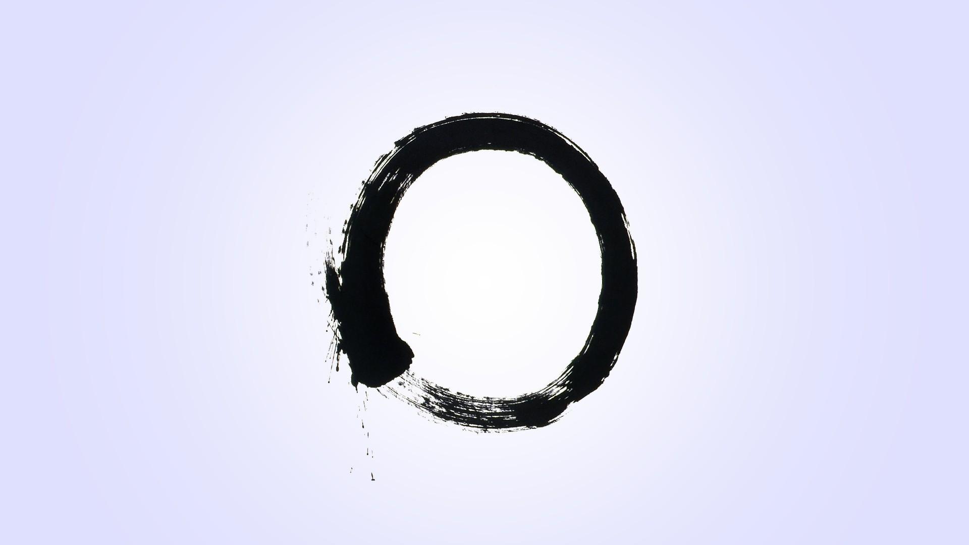 General 1920x1080 minimalism zen ensō ouroboros simple background circle monochrome
