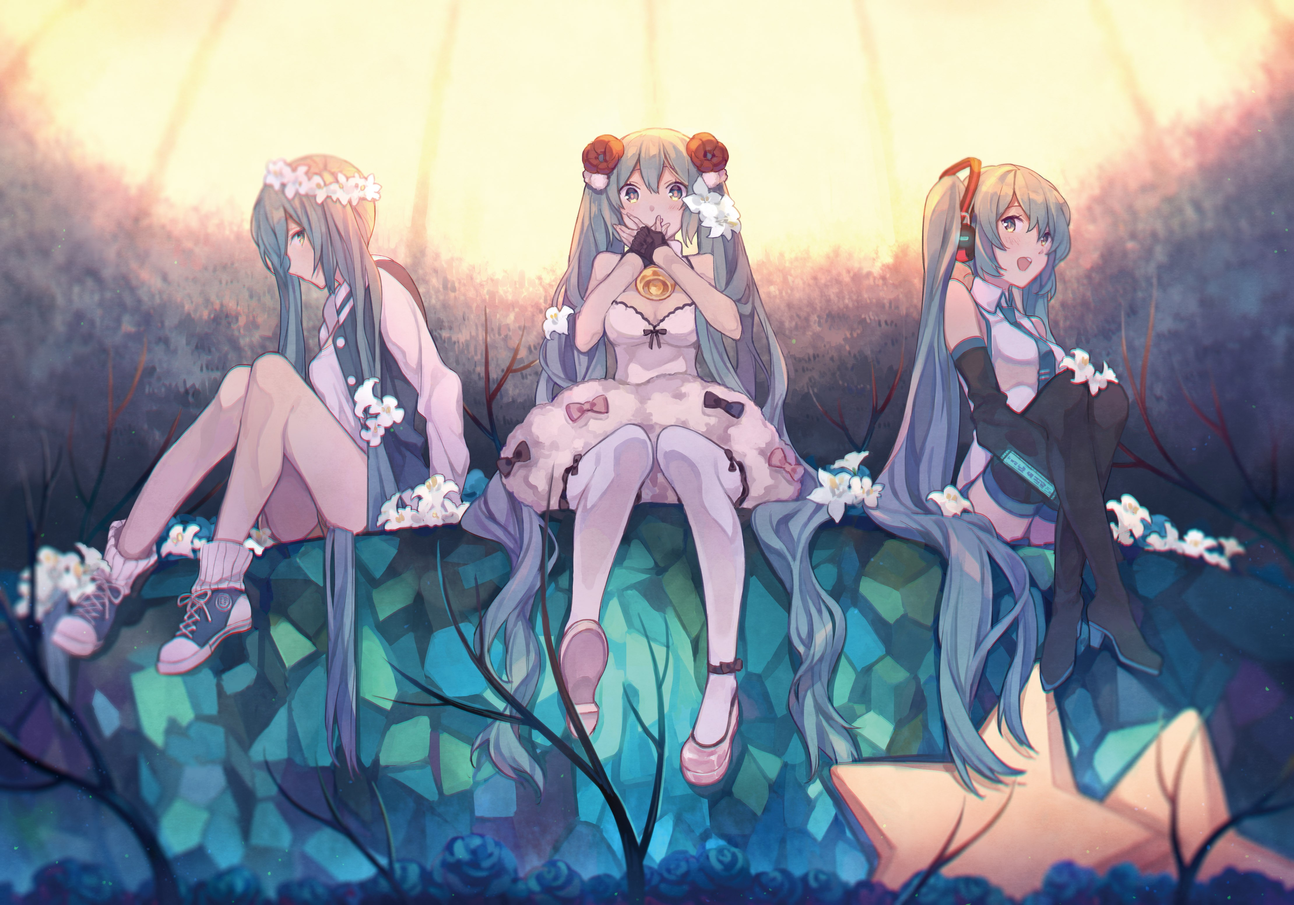 Anime 4440x3106 thigh-highs Vocaloid Hatsune Miku anime girls long hair flowers twintails