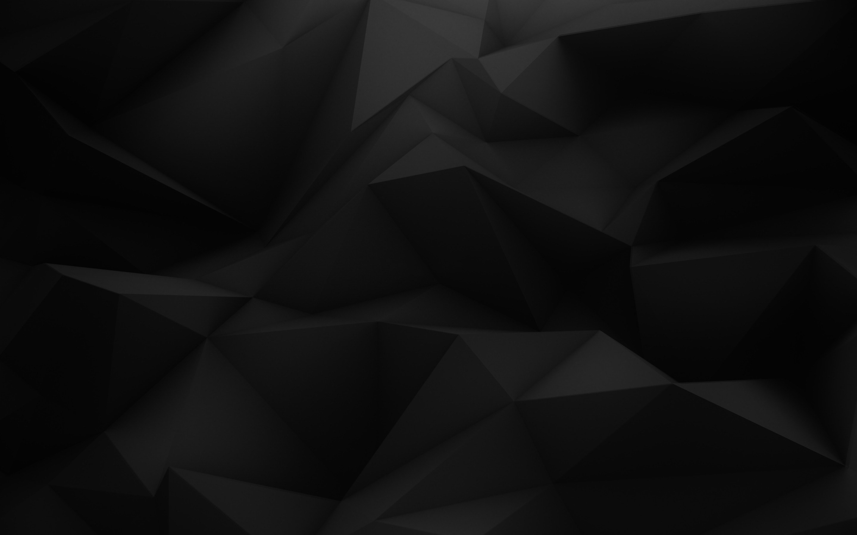 General 2880x1800 minimalism abstract pattern digital art geometry black 3D triangle low poly texture