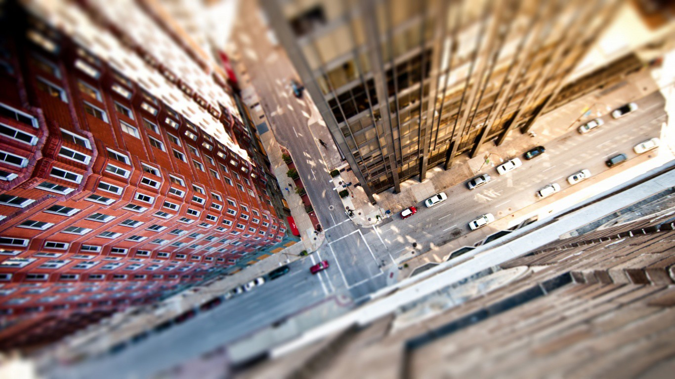 General 1366x768 cityscape city building tilt shift aerial view road car New York City blurred street bird's eye view HDR USA