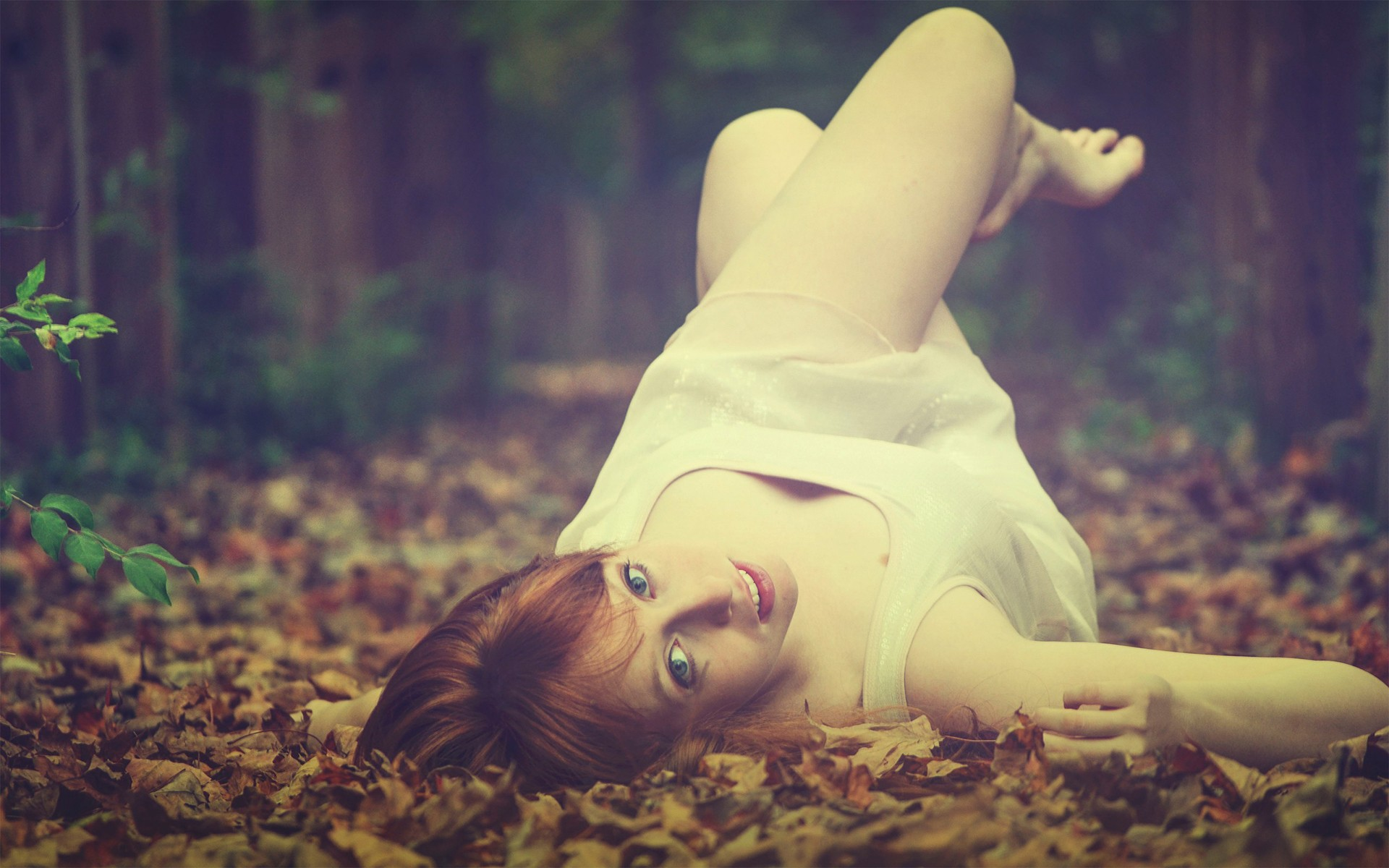 General 1920x1200 barefoot women lying down women outdoors depth of field nature leaves fall redhead dress white dress legs up blue eyes