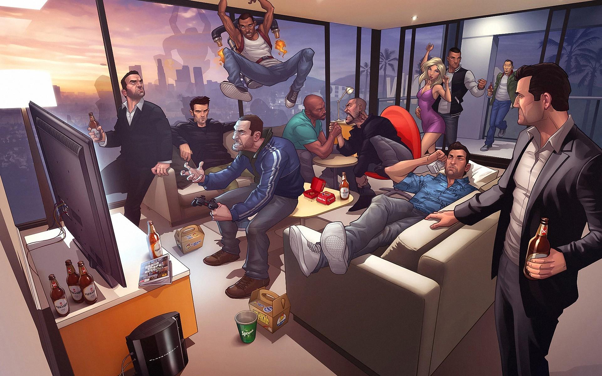 General 1920x1200 Grand Theft Auto Grand Theft Auto V video games digital art PlayStation 3 jetpack couch TV Grand Theft Auto III Grand Theft Auto IV Grand Theft Auto Vice City Grand Theft Auto San Andreas video game art video game man PC gaming