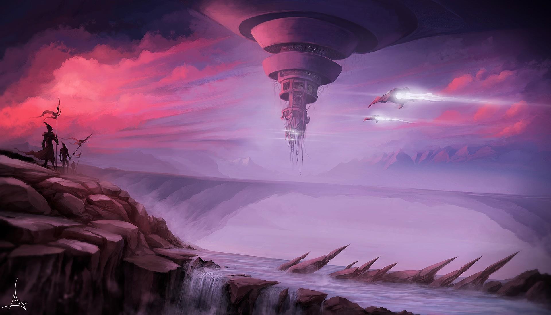 General 1920x1099 fantasy art spaceship futuristic waterfall aircraft river