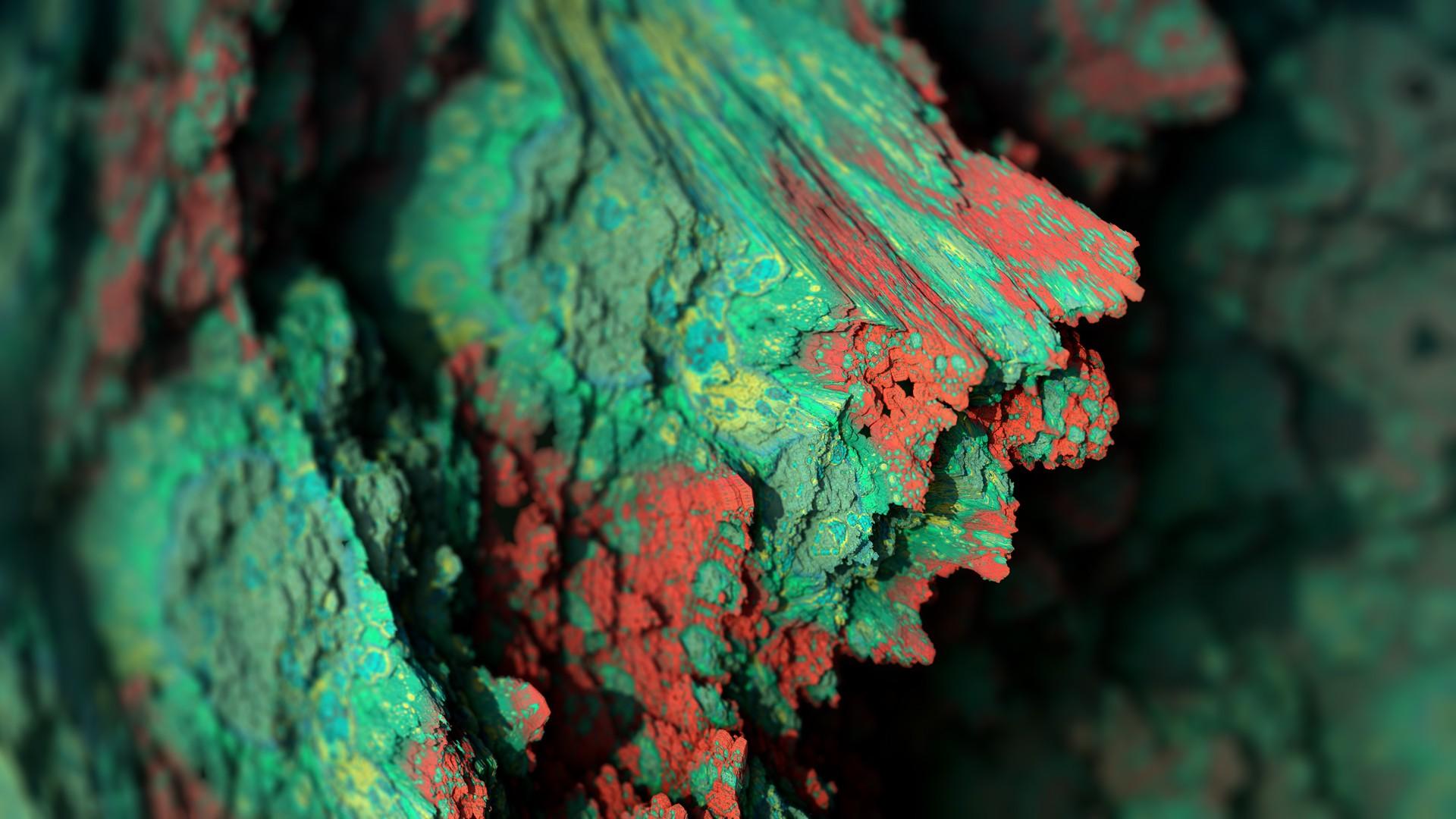 General 1920x1080 Procedural Minerals mineral abstract depth of field CGI artwork digital art