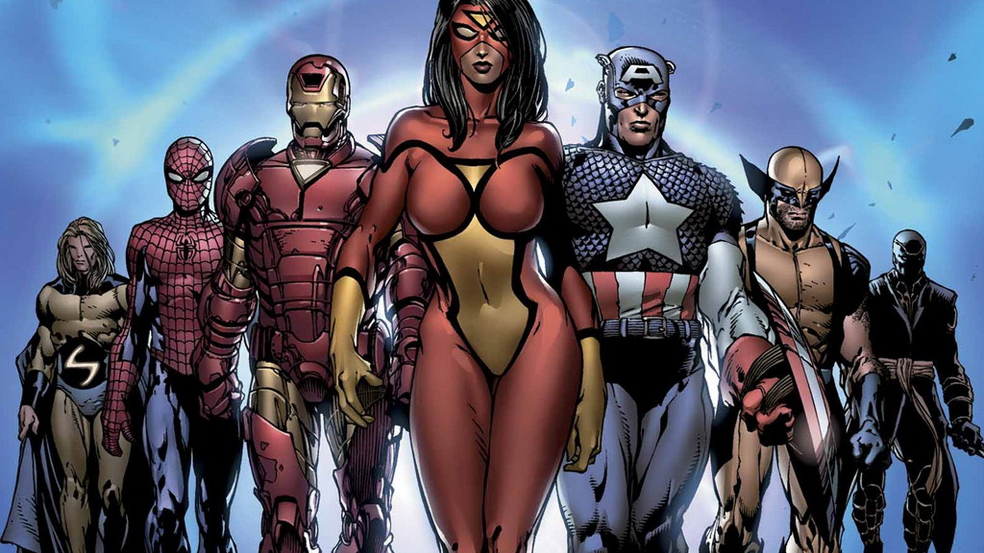 General 1920x1080 comics Spider-Man Iron Man Captain America Wolverine Ronin Spider-Woman frontal view Sentry