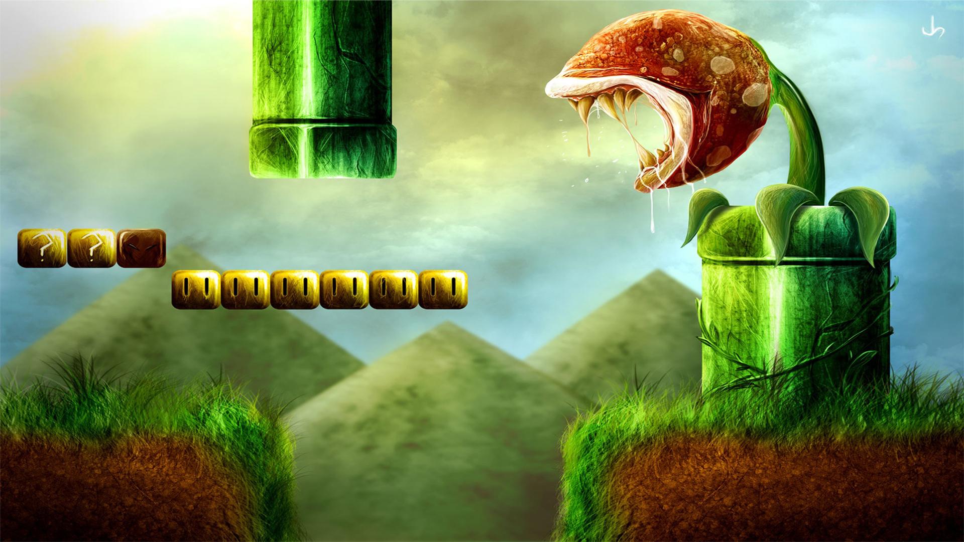 General 1920x1080 video games Super Mario digital art render video game art Super Mario Bros. grass plants pipe