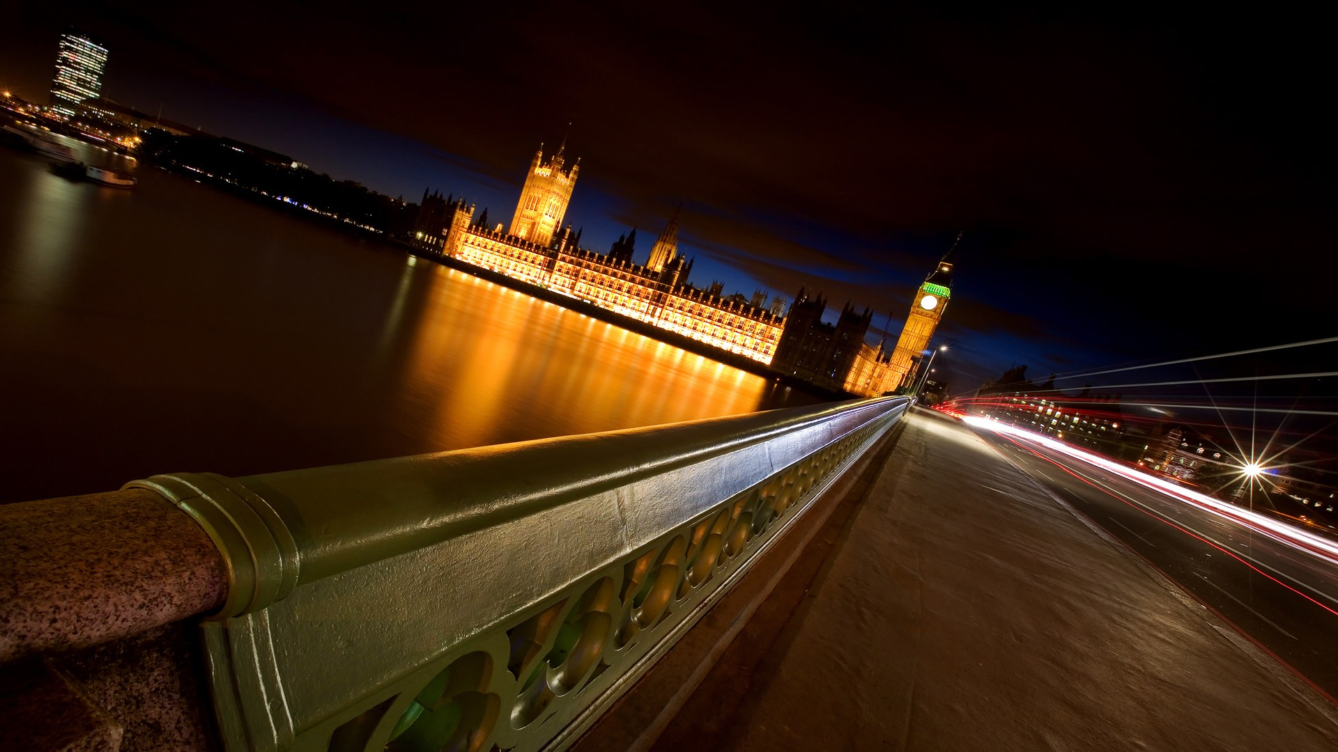 General 1920x1080 cityscape London River Thames Westminster bridge photography water night building architecture lights long exposure urban city street Big Ben UK