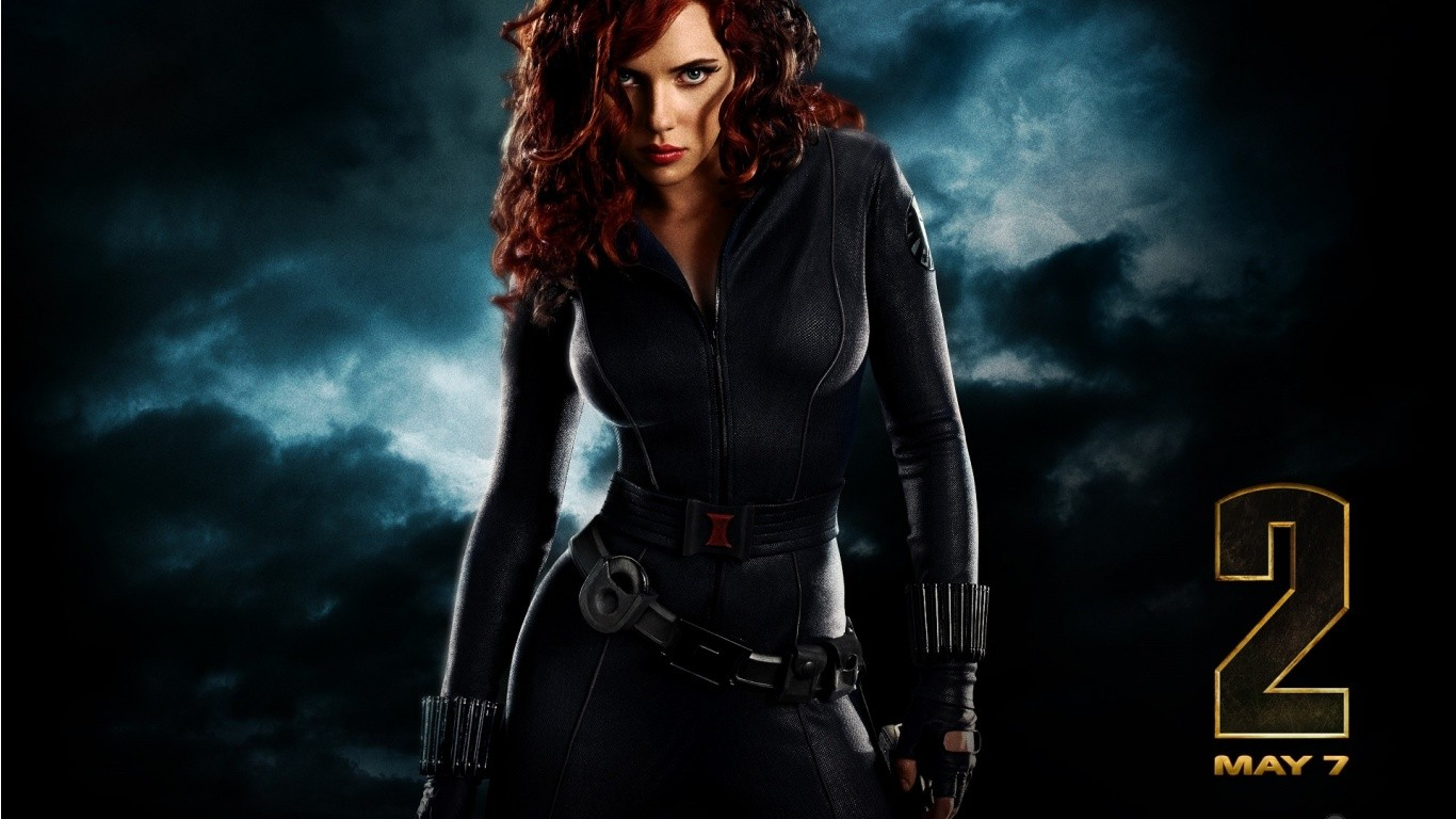 General 1366x768 Scarlett Johansson Iron Man 2 Black Widow superheroines movies Marvel Cinematic Universe redhead women red lipstick long hair looking at viewer actress