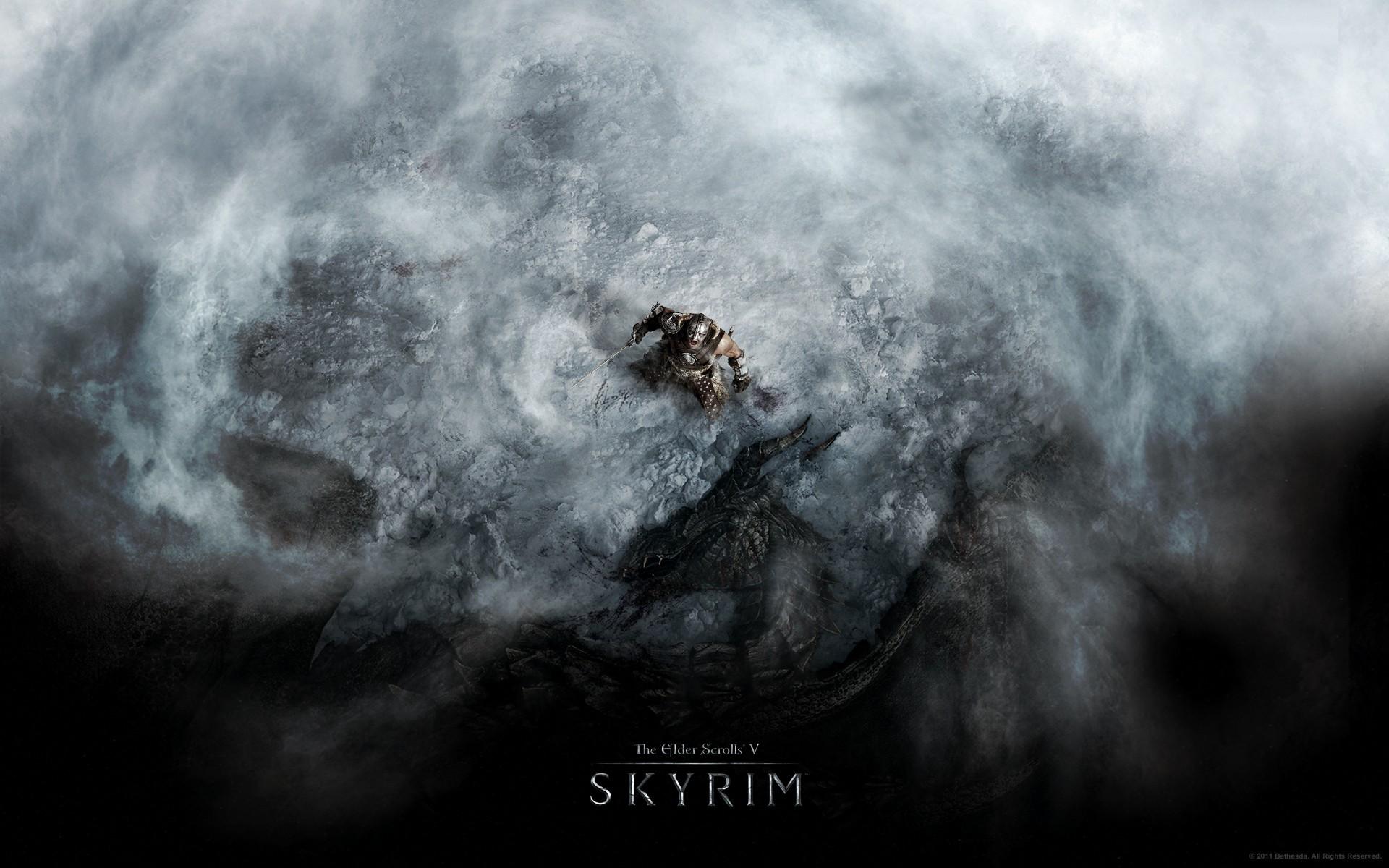 General 1920x1200 The Elder Scrolls V: Skyrim dragon video games snow fantasy art