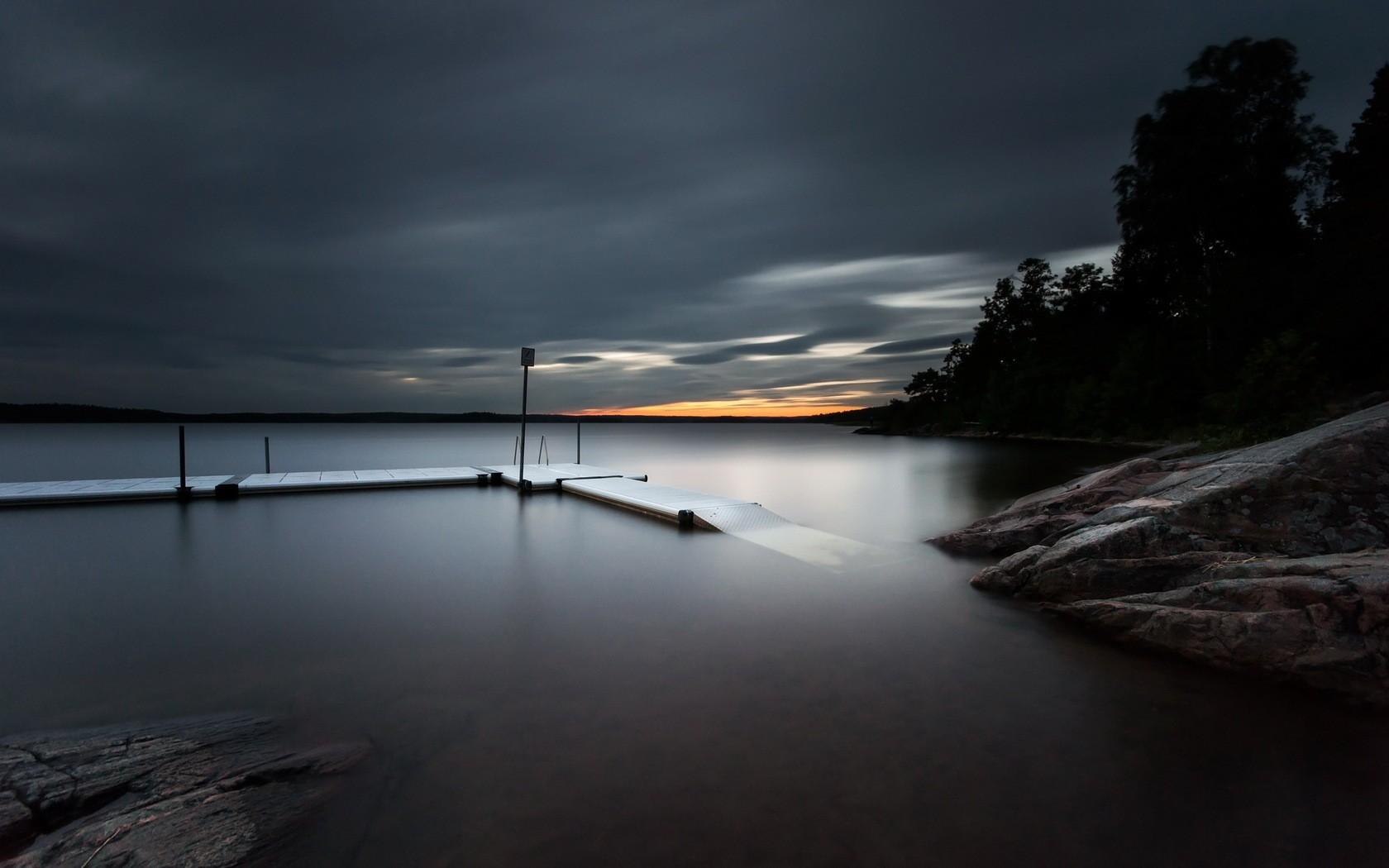 General 1680x1050 pier overcast landscape lake dusk