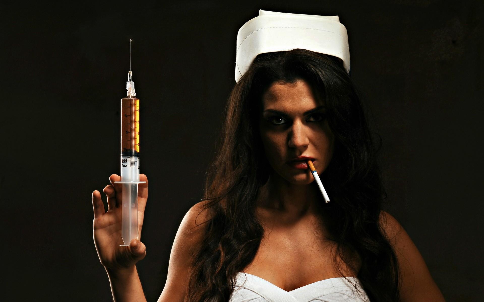 People 1920x1200 nurses cigarettes women model needles smoking