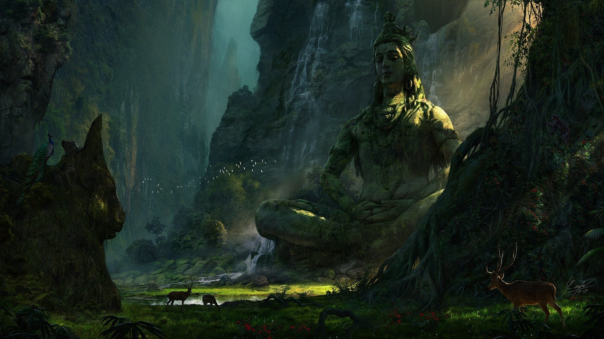 General 1920x1080 mountains deer landscape Earth lake waterfall nature Shiva Hinduism India