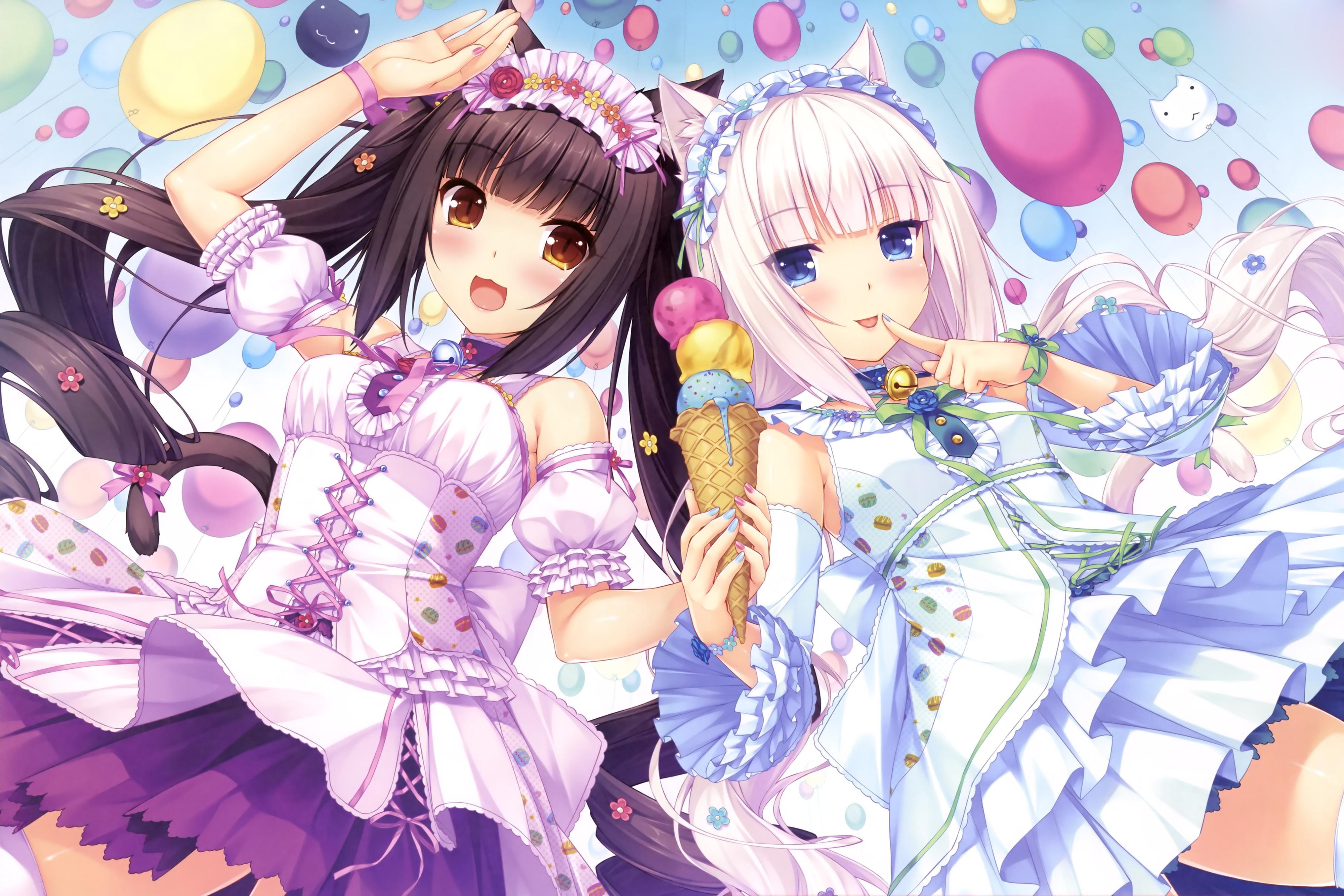 Anime 4000x2668 anime girls anime cat girl ice cream Neko Para Chocolat (Neko Para) Vanilla (Neko Para) visual novel balloon