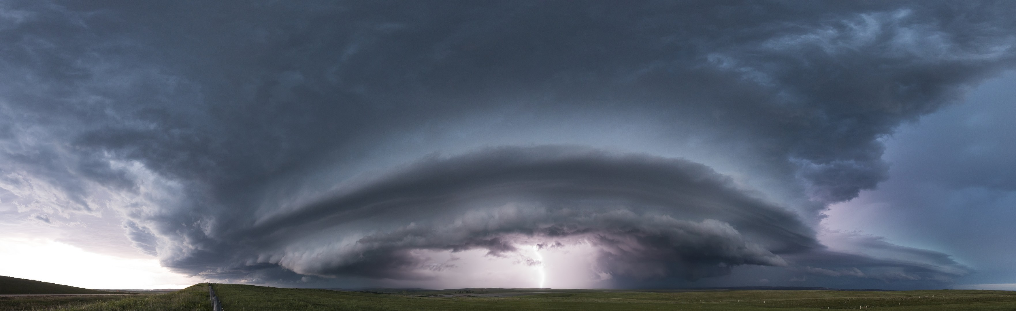 General 3525x1080 lightning storm skyscape clouds supercell (nature)