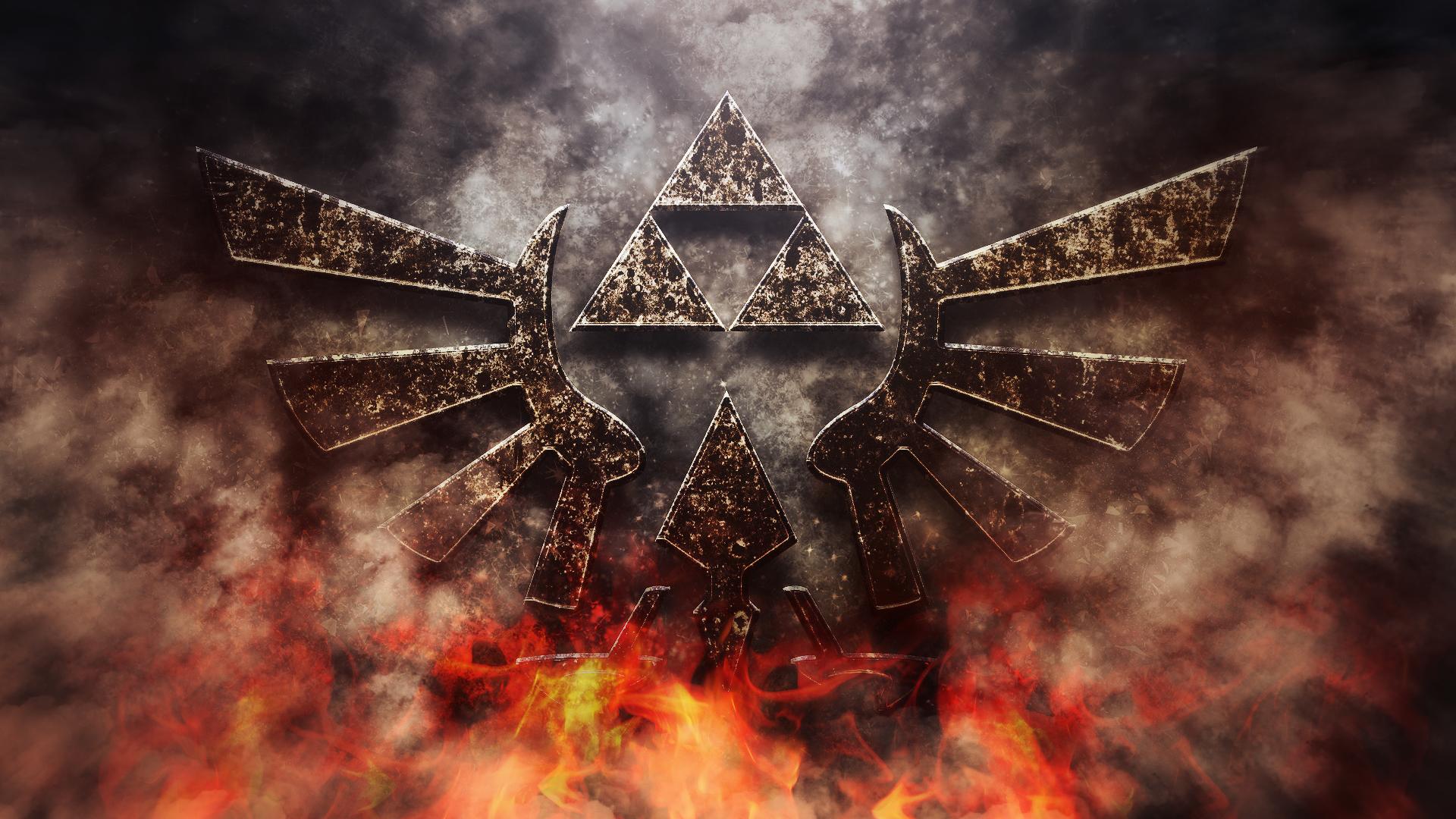 General 1920x1080 hylian crest video game art digital art fire video games Triforce The Legend of Zelda