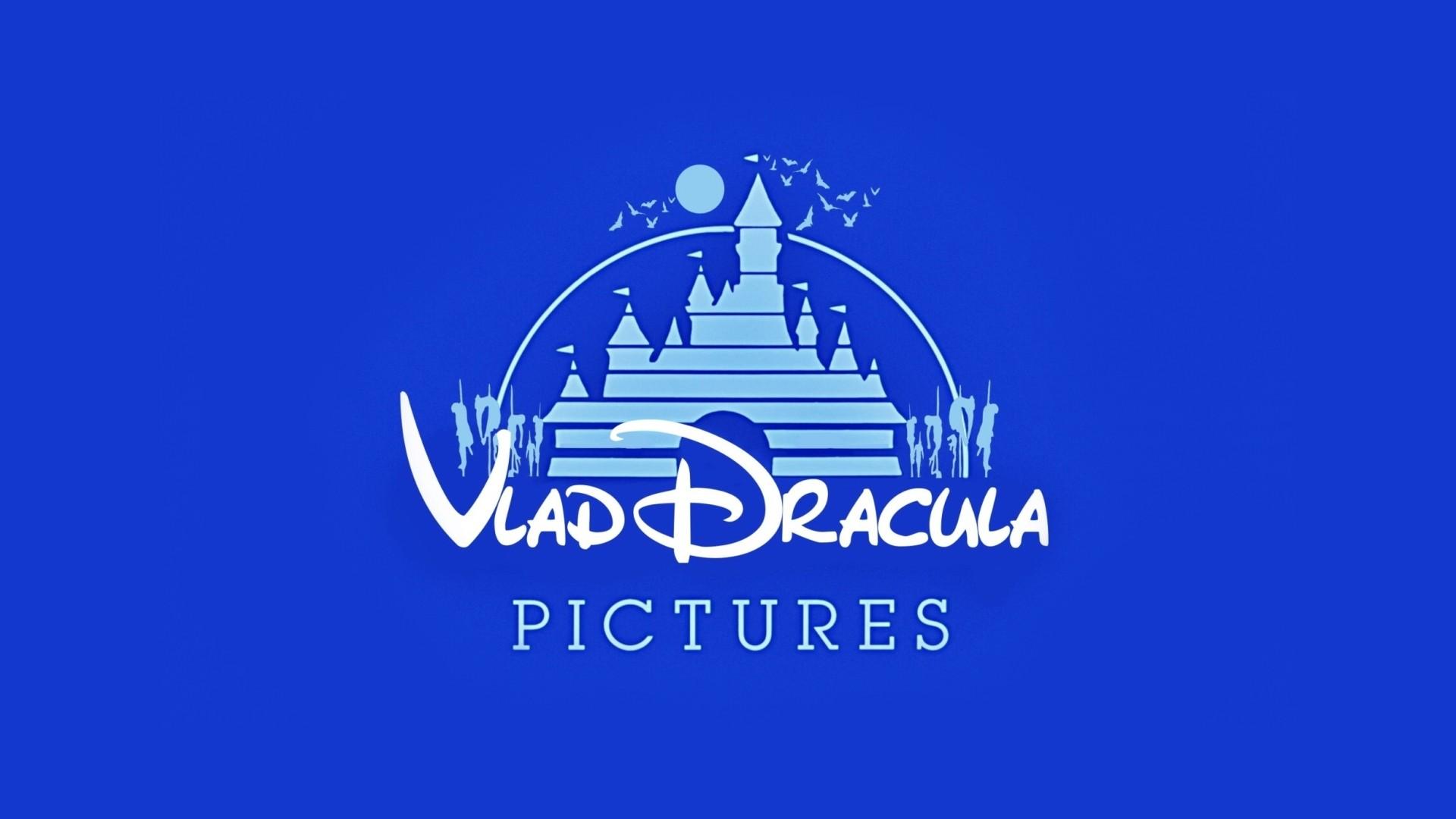 General 1920x1080 humor logo Dracula castle bats blue background Walt Disney blue