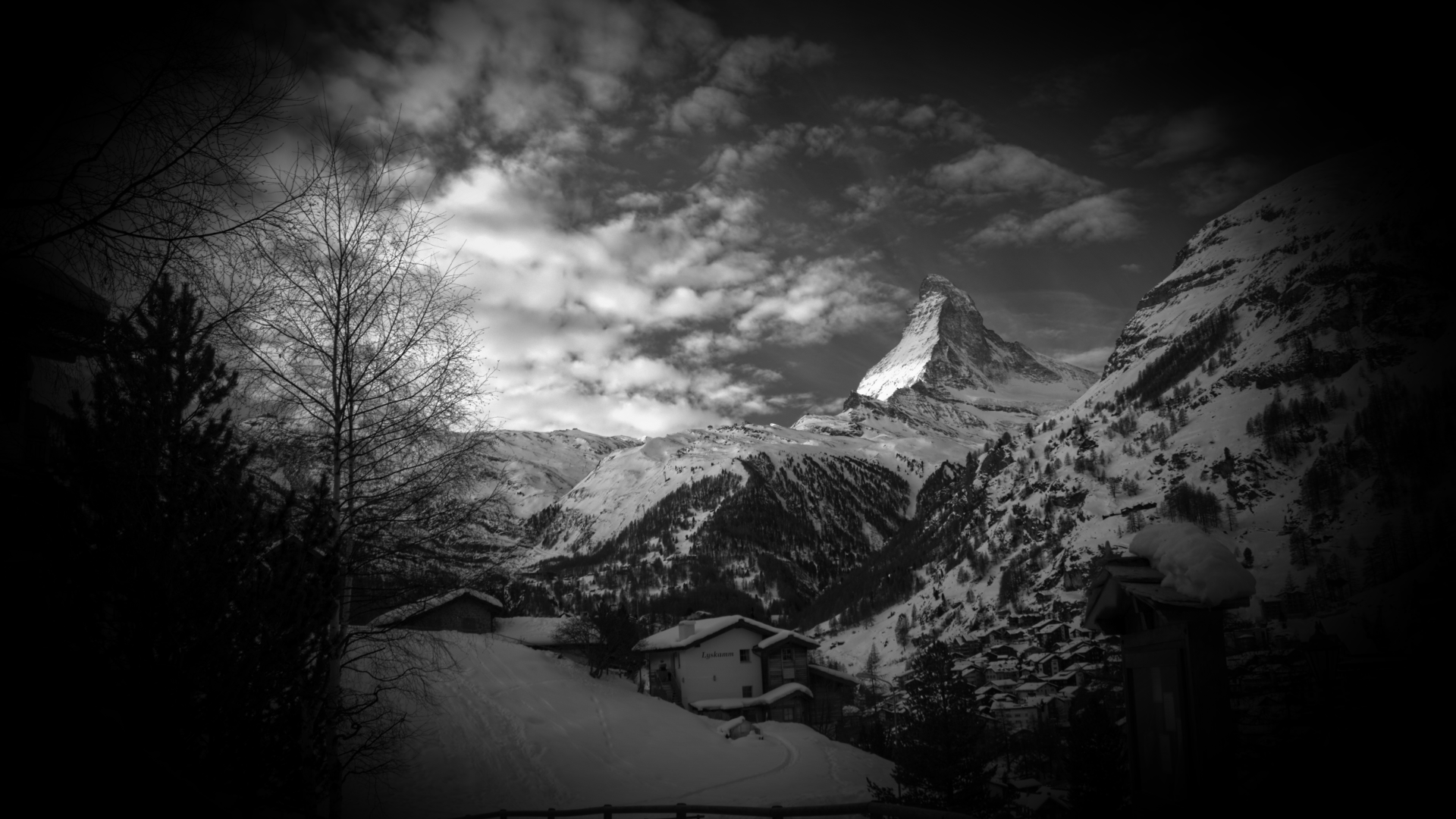 General 1920x1080 mountains nature monochrome gray Switzerland Matterhorn Alps winter snow trees landscape house